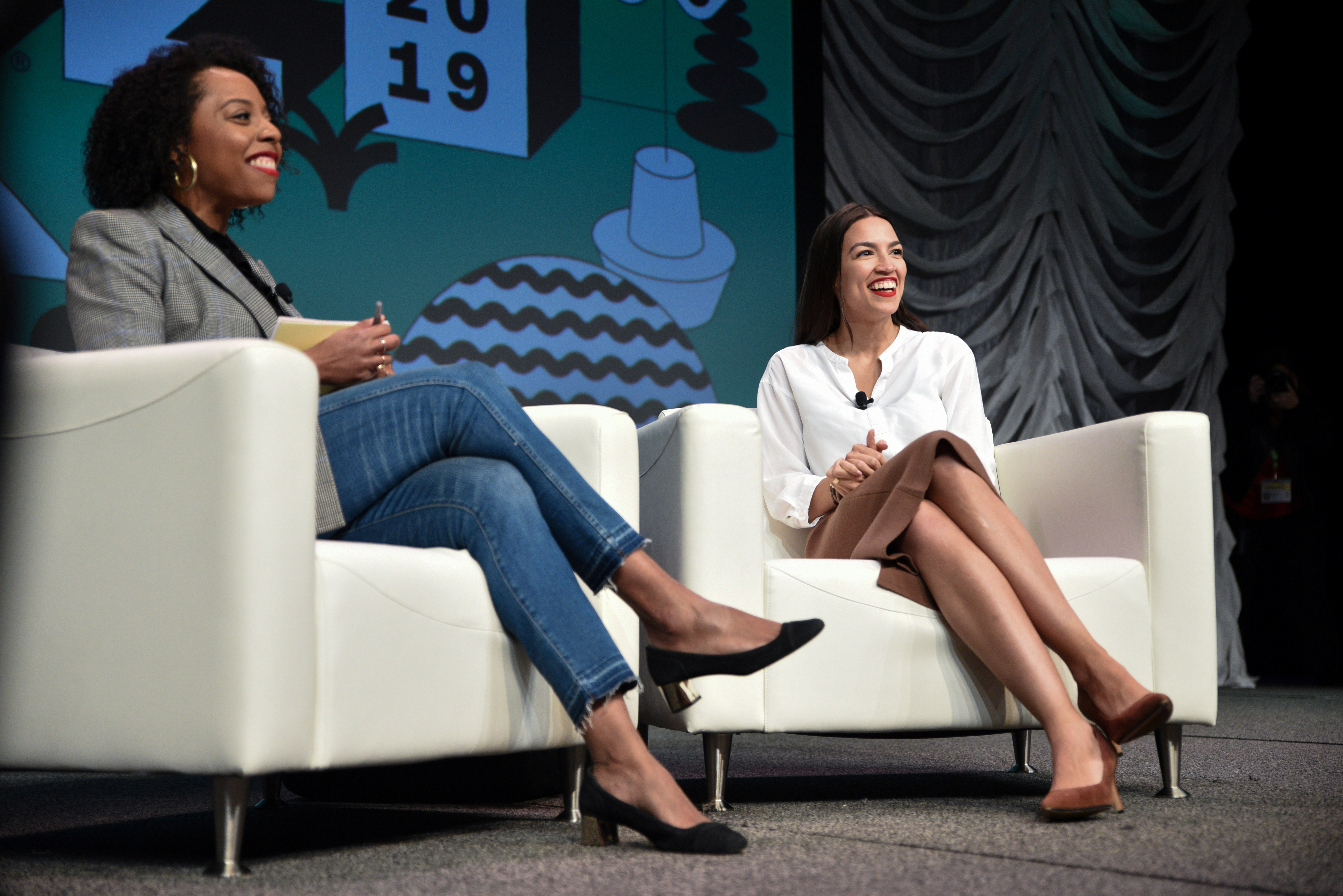 Democratic Rep. Alexandria Ocasio-Cortez speaks about the first few months of her tenure in congress with Briahna Gray at the South by Southwest conference and festivals in Austin, Texas, March 9, 2019. REUTERS/Sergio Flores