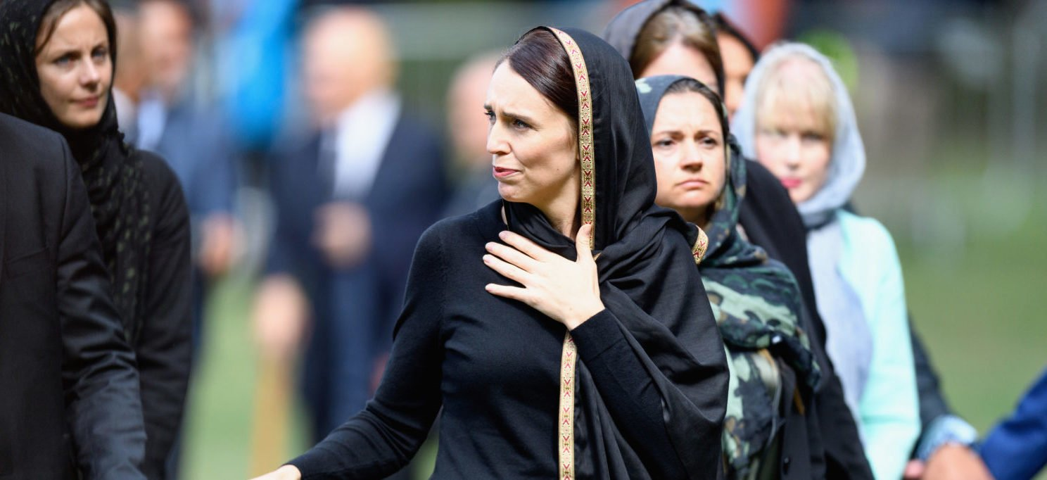 CHRISTCHURCH, NEW ZEALAND - MARCH 22: New Zealand Prime Minister Jacinda Ardern greets members of the public after attending islamic prayers in Hagley Park near Al Noor mosque on March 22, 2019 in Christchurch, New Zealand. 50 people were killed, and dozens were injured in Christchurch on Friday, March 15 when a gunman opened fire at the Al Noor and Linwood mosques. The attack is the worst mass shooting in New Zealand's history. (Photo by Kai Schwoerer/Getty Images)