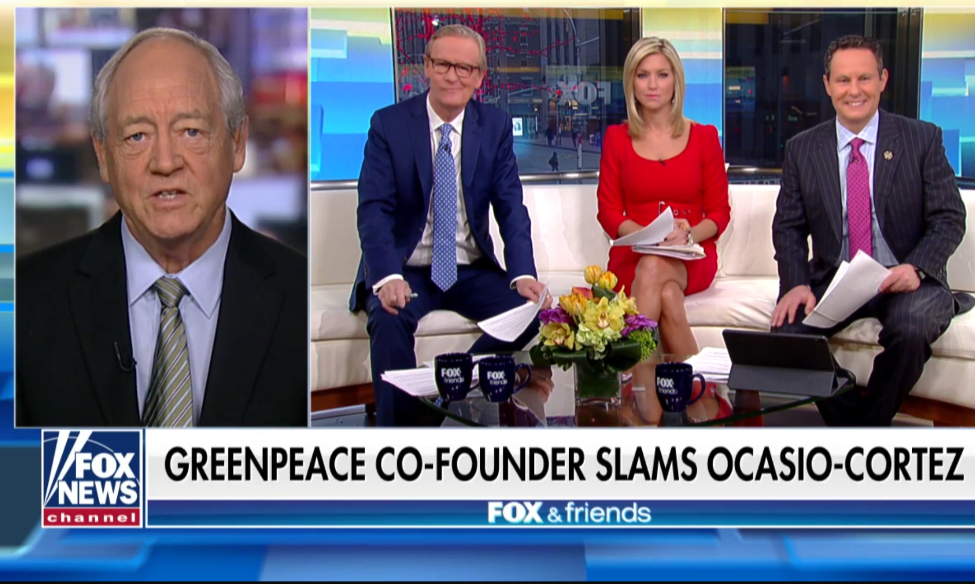 "Greenpeace Co-Founder Patrick Moore appears on Fox & Friends to discuss ""climate change crisis,"" on March 12, 2019. Fox News screenshot."