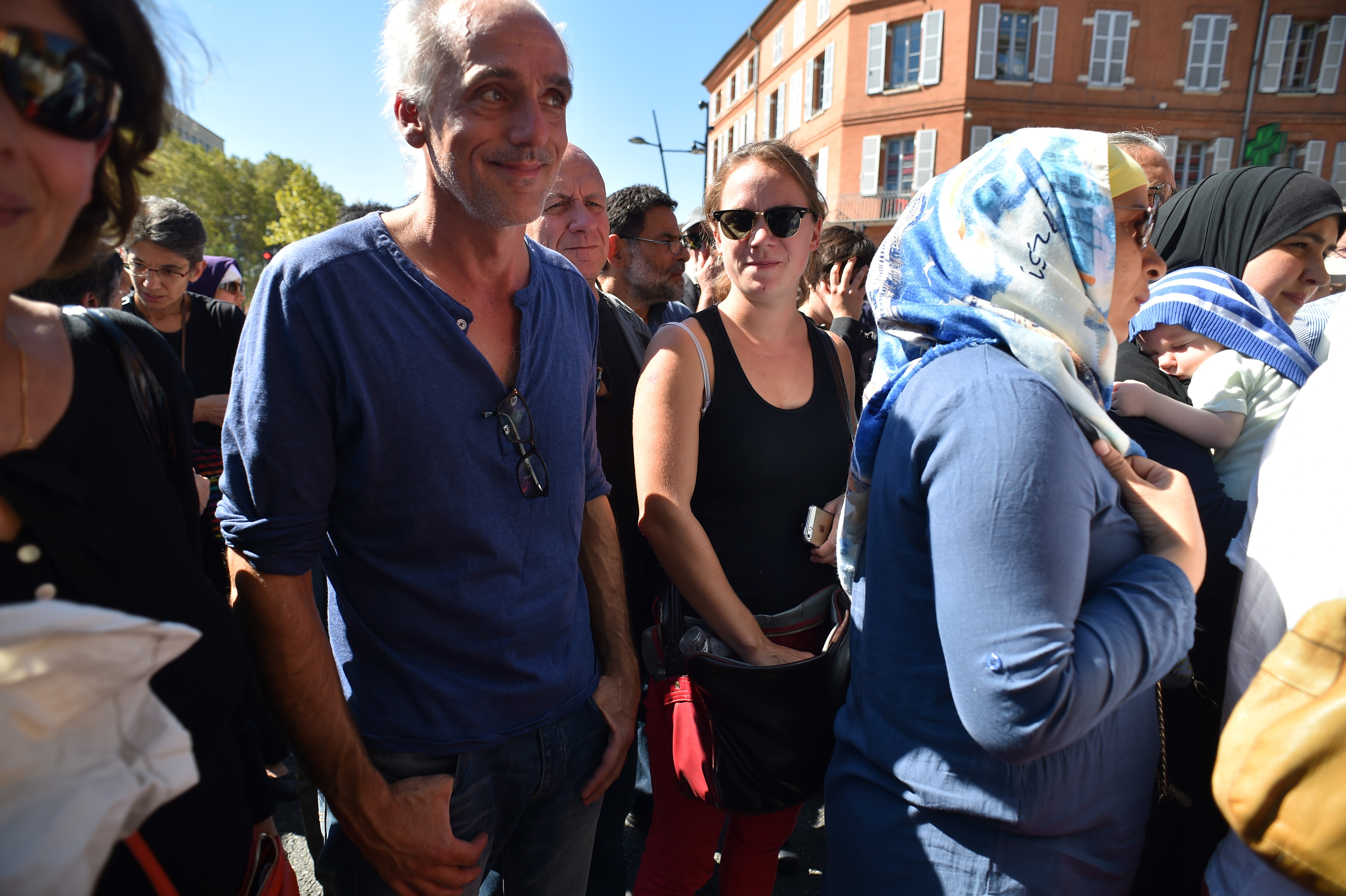 "Far-left activist Philippe Poutou takes part in a demonstration in front of Toulouse's courthouse, on September 22, 2016, in support of four BDS (Boycott Divestment and Sanctions) militants appearing before the court for ""hampering the normal exercise of an economic activity"". The four militants face charges for having distributed fliers calling for the boycott of Israel's products. BDS is a movement calling for a boycott of Israel over its treatment of Palestinians. / AFP / Rémy GABALDA (Photo credit should read REMY GABALDA/AFP/Getty Images)"