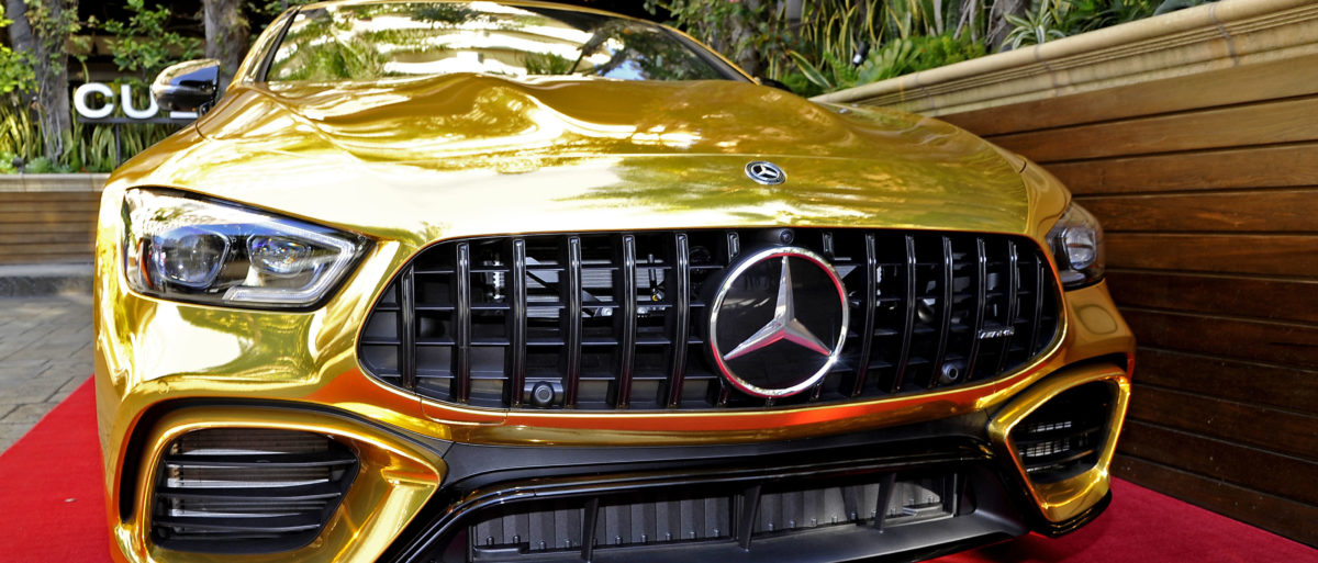 A Mercedes-Benz car is on display during the Mercedes-Benz USA Awards Viewing Party at Four Seasons Los Angeles at Beverly Hills on February 24, 2019 in Los Angeles, California. (Photo by John Sciulli/Getty Images for Mercedes-Benz USA)