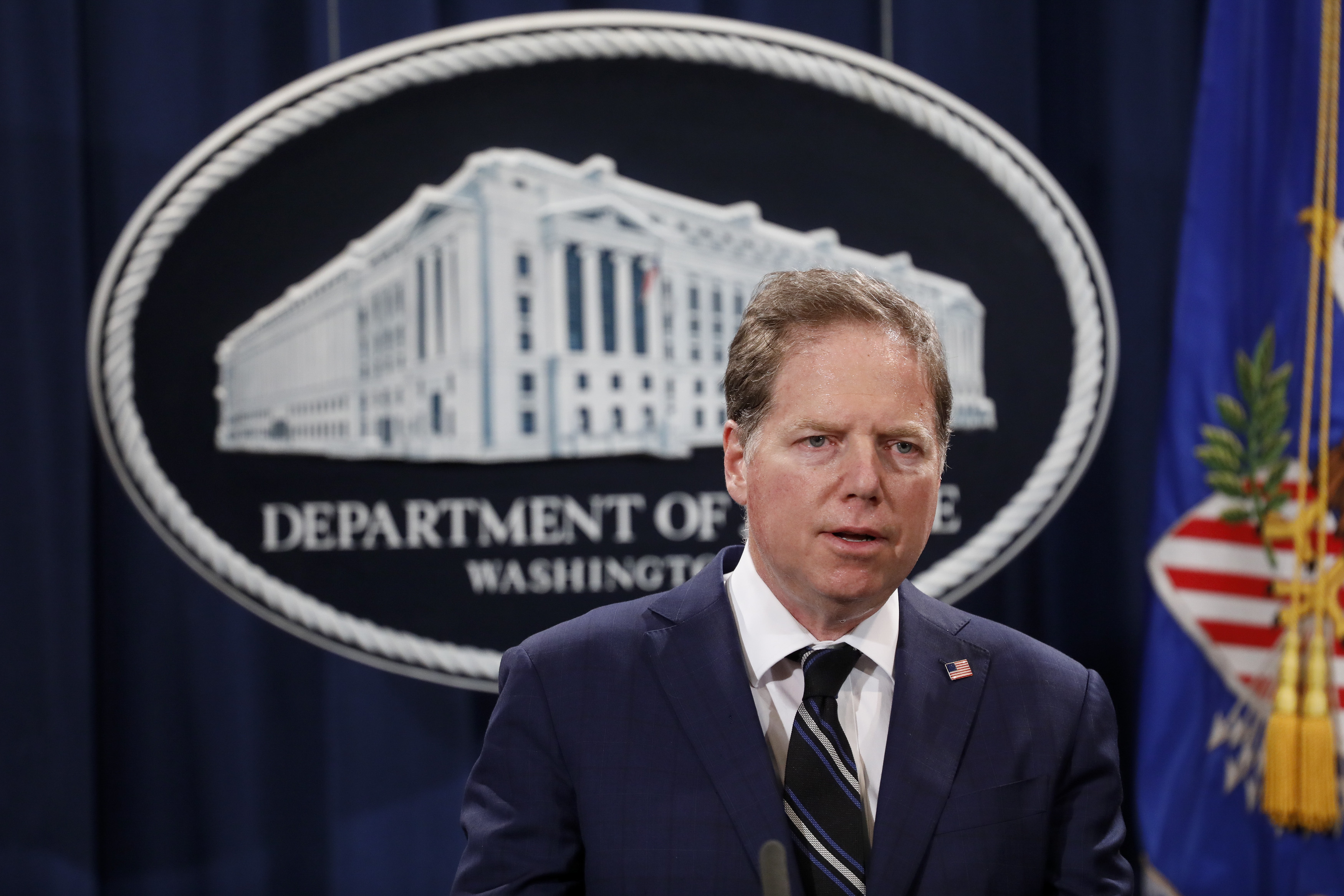 Geoffrey Berman, United States Attorney for the Southern District of New York, speaks at a press conference about the apprehension of a suspect in the recent spate of mail bombings at the Department of Justice on October 26, 2018 in Washington, DC. (Photo by Aaron P. Bernstein/Getty Images)