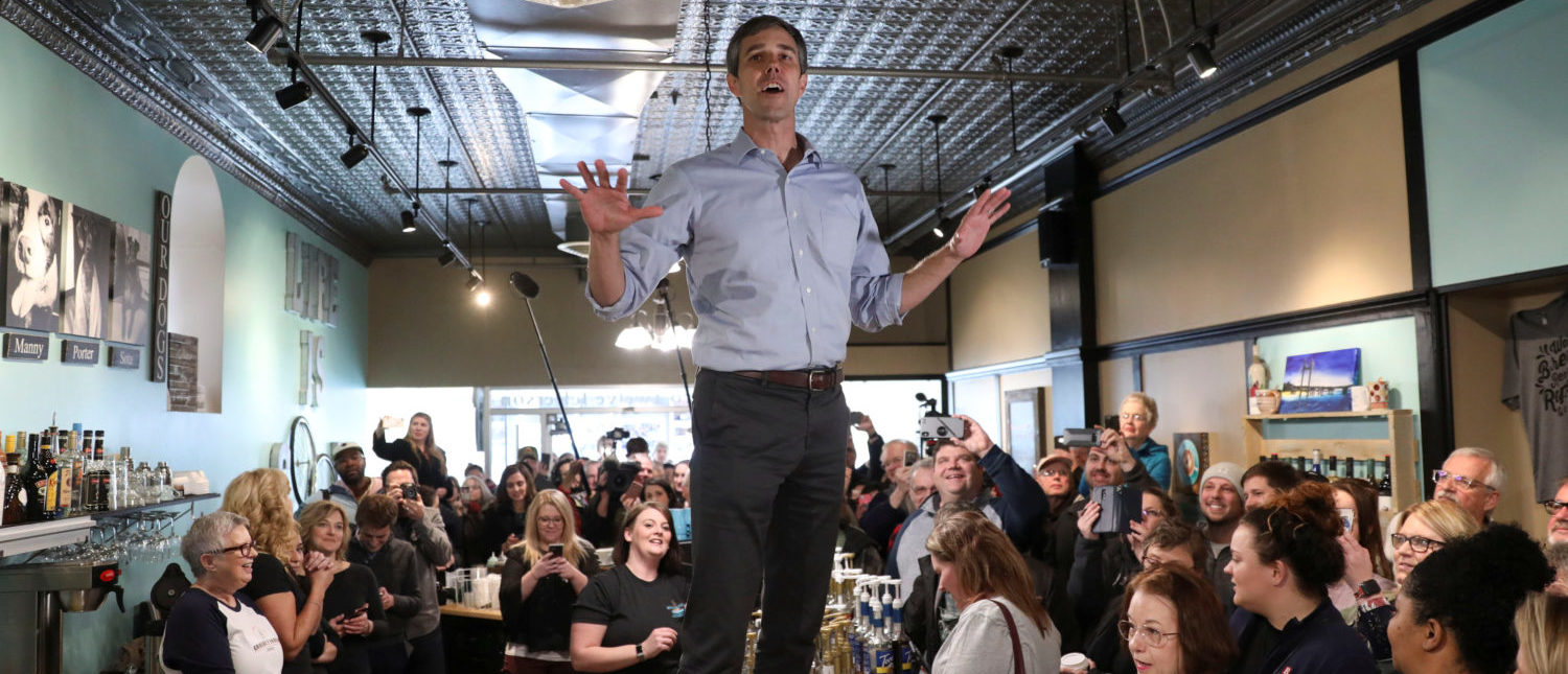 Former Texas congressman Beto O'Rourke speaks during a campaign stop at The Beancounter Coffeehouse in Burlington, Iowa on March 14, 2019. REUTERS/Daniel Acker