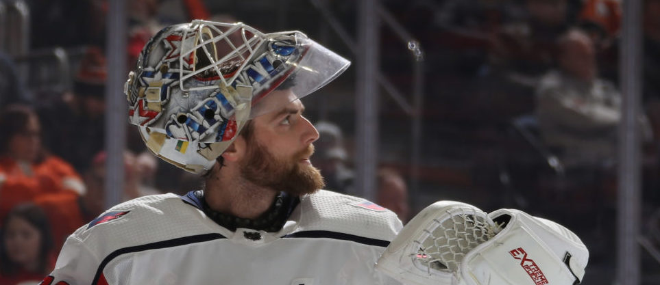 Braden Holtby #70 of the Washington Capitals waits for play to begin during the second period against the Philadelphia Flyers at the Wells Fargo Center on March 06, 2019 in Philadelphia, Pennsylvania. (Photo by Bruce Bennett/Getty Images)