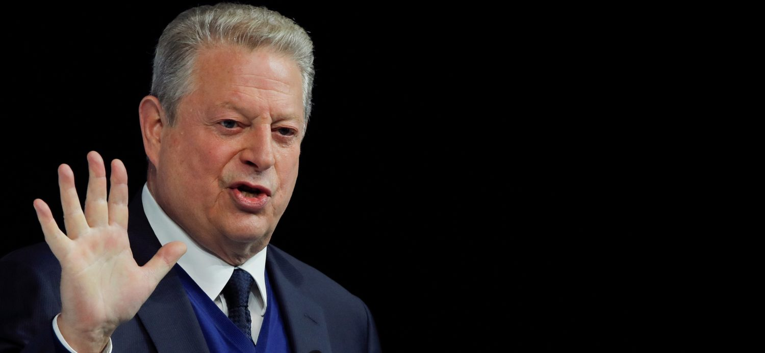 Al Gore, former U.S. Vice President and Climate Reality Project Chairman, gestures as he attends the World Economic Forum (WEF) annual meeting in Davos, Switzerland, January 22, 2019. REUTERS/Arnd Wiegmann