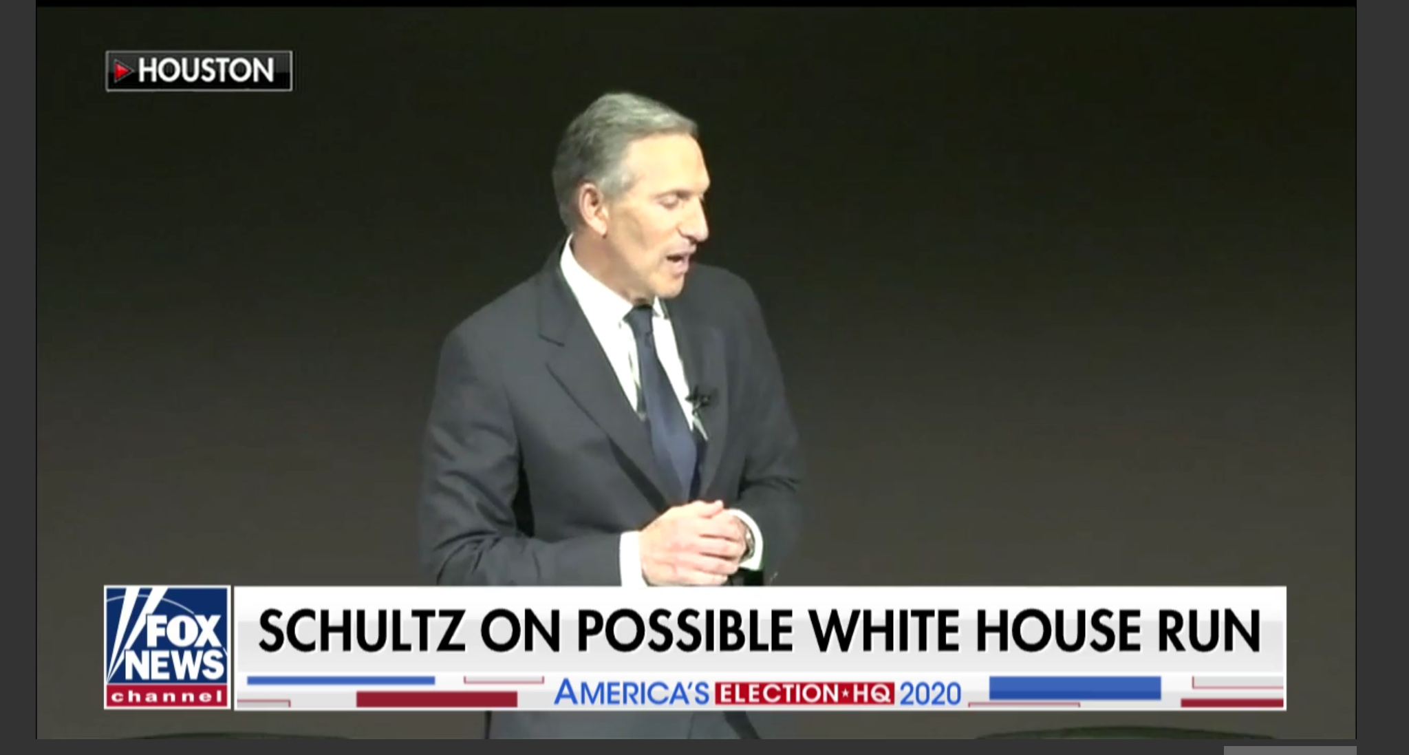 Howard Schultz speaks to supporters. Fox News screenshot.