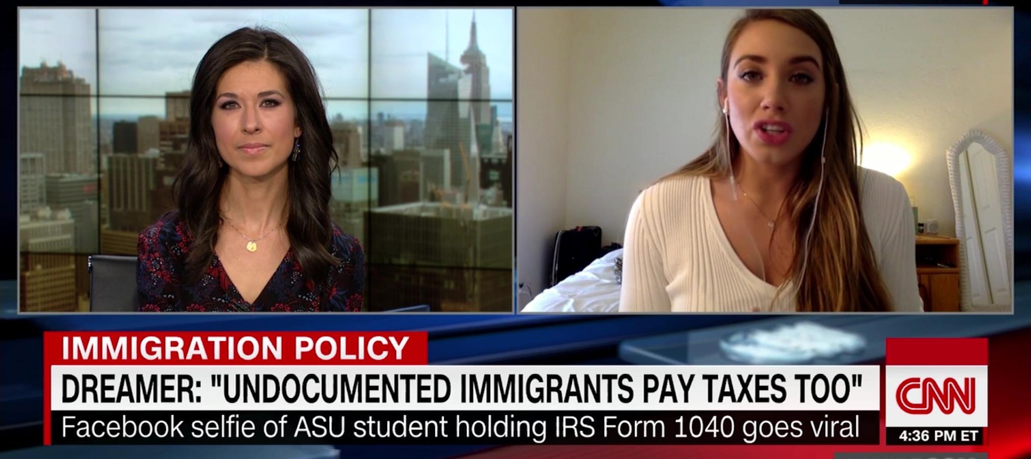 Belén Sisa is interviewed on CNN regarding her status as an illegal immigrant. CNN screen capture, March 1, 2018.