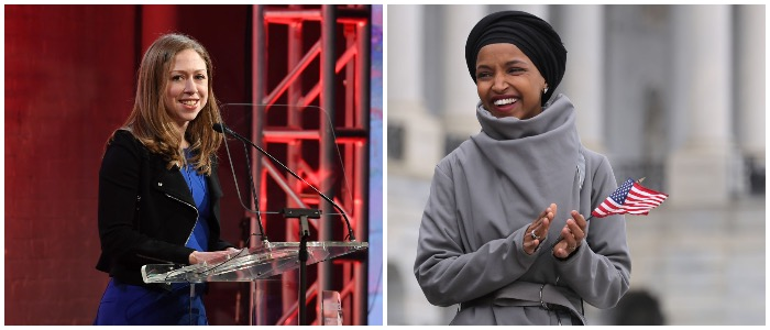 Chelsea Clinton and Ilhan Omar (LEFT: Dimitrios Kambouris/Getty Images RIGHT: Chip Somodevilla/Getty Images)