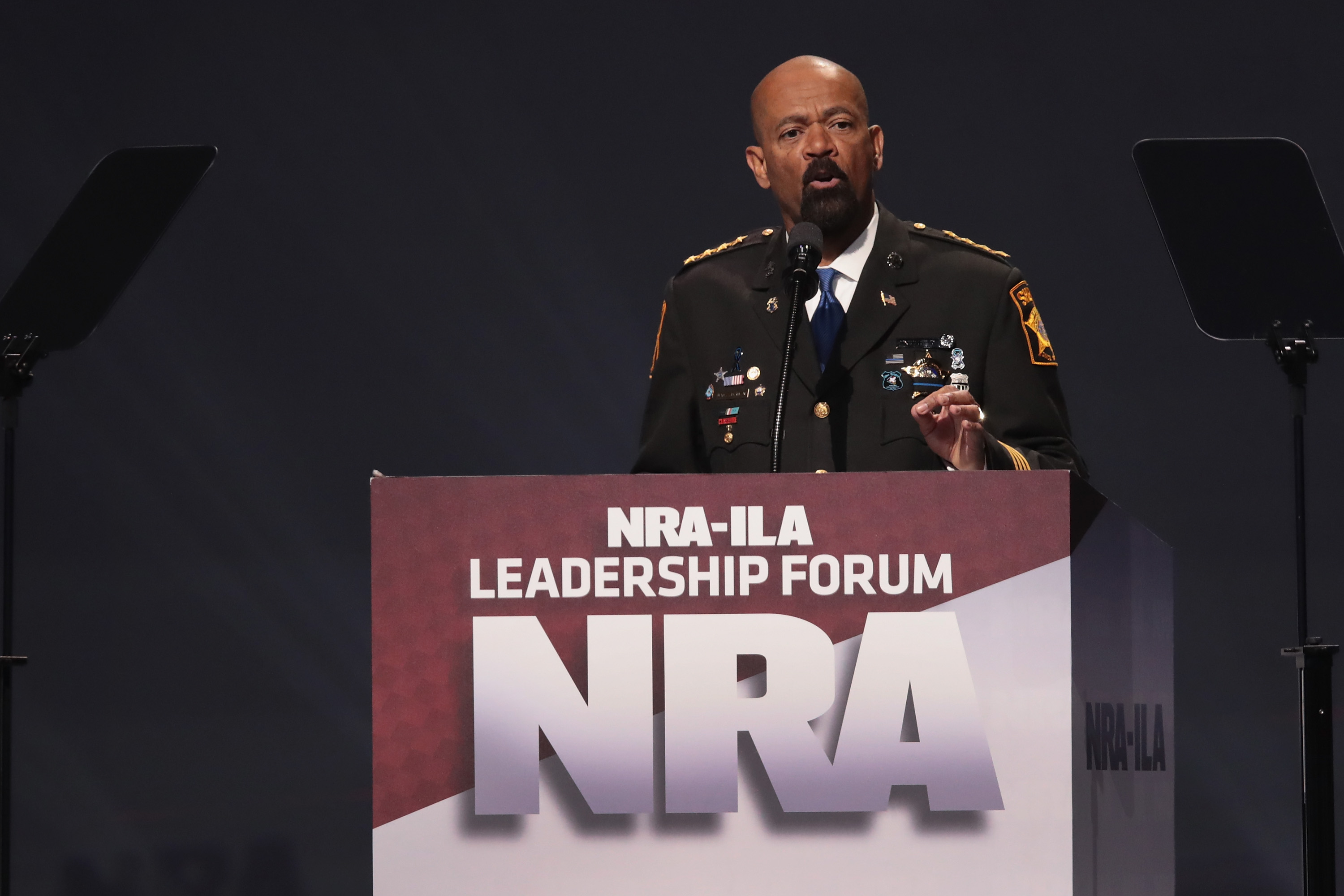 David Clarke Jr., sheriff of Milwaukee County, Wisconsin, speaks at the NRA-ILA's Leadership Forum at the 146th NRA Annual Meetings & Exhibits on April 28, 2017 in Atlanta, Georgia. The convention is the largest annual gathering for the NRA's more than 5 million members. (Photo by Scott Olson/Getty Images)