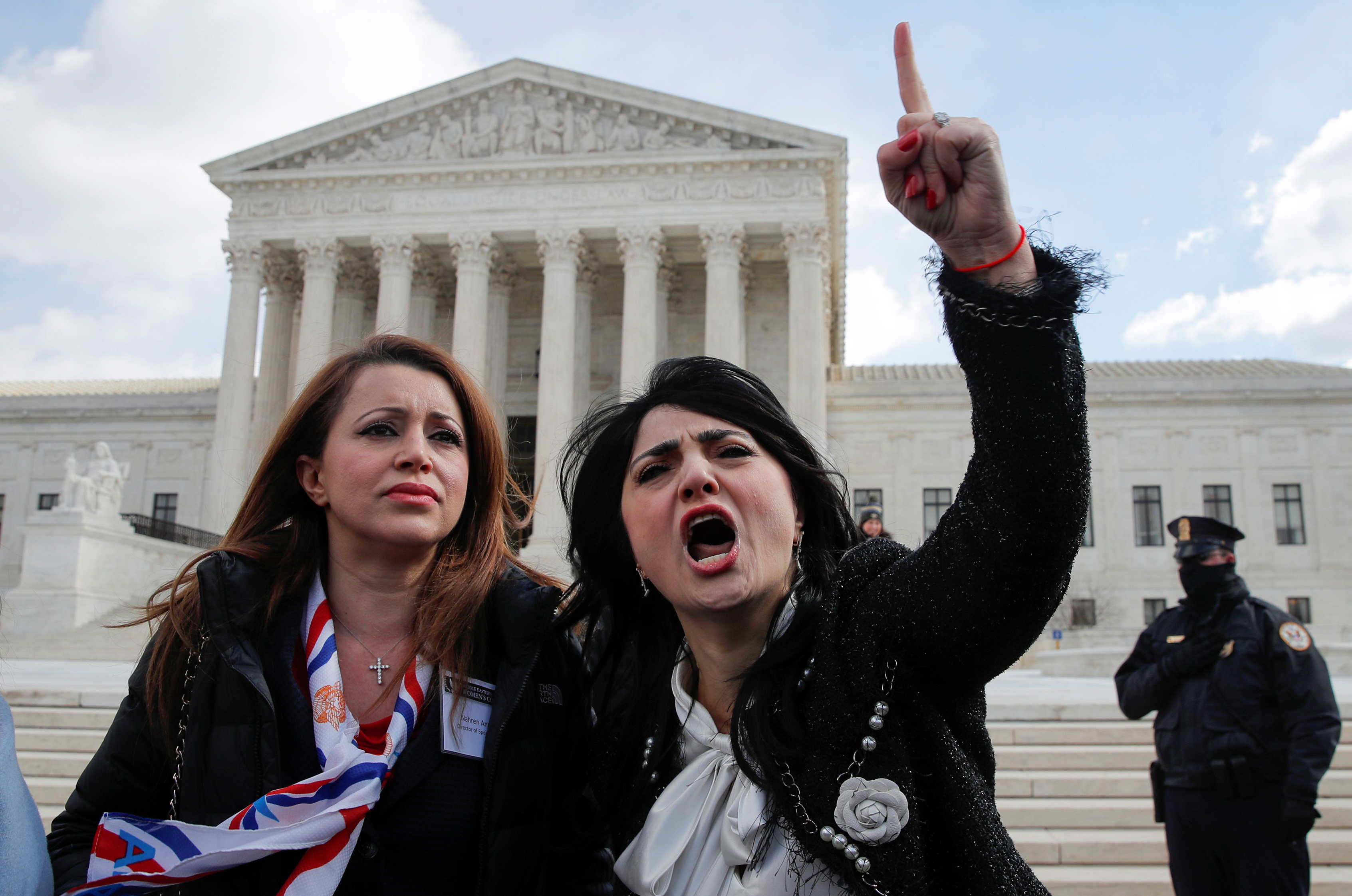Protestors Rabia Kazan and Nahren Anweya interrupt a news conference to call for the resignation of U.S. Rep. Ilhan Omar (D-MN) outside the Supreme Court in Washington, U.S., March 6, 2019. REUTERS/Jim Young