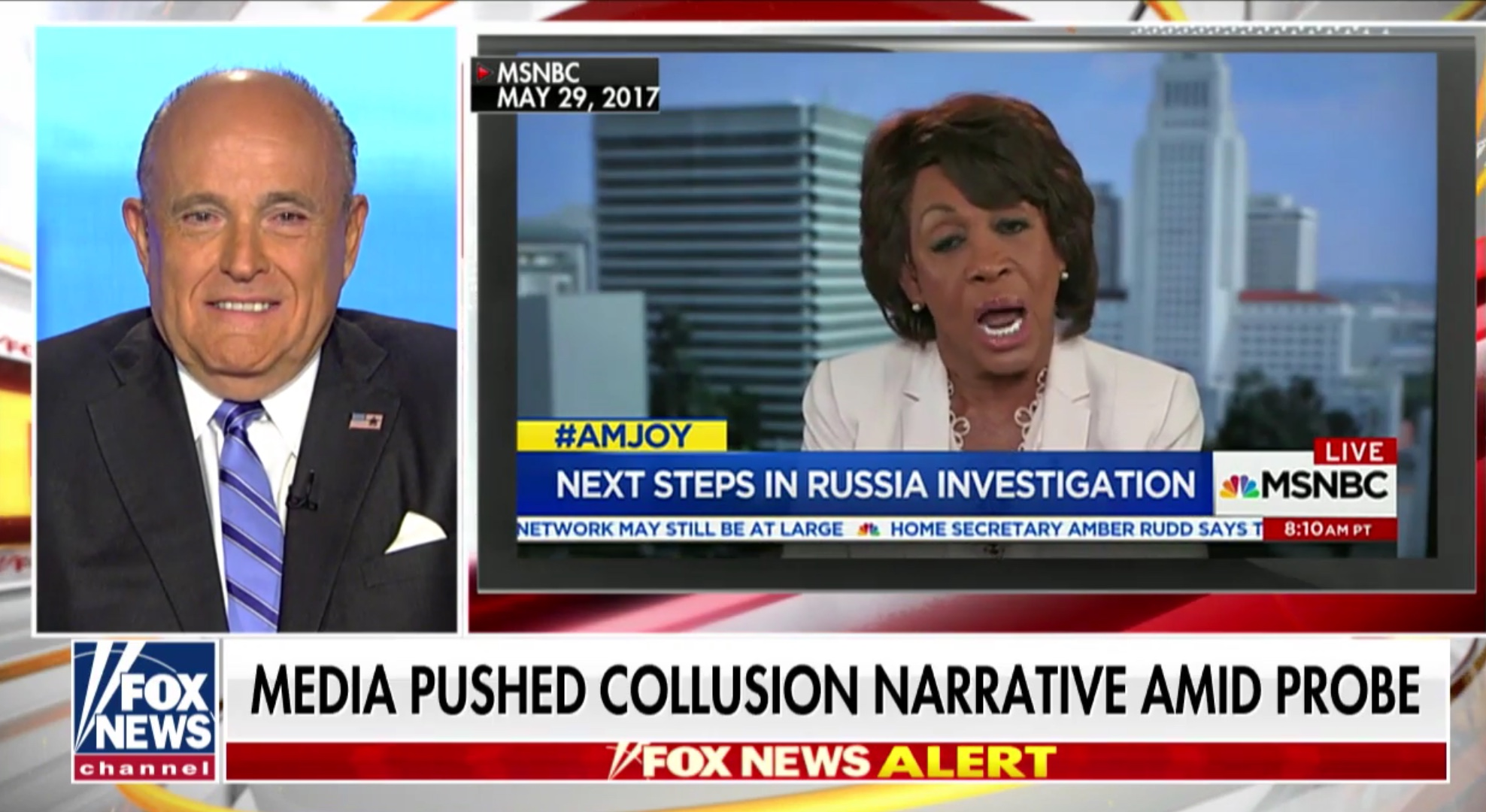 Former New York Mayor Rudy Giuliani talks to Fox & Friends about the release of the Mueller report, March 25, 2019. Fox News screenshot.