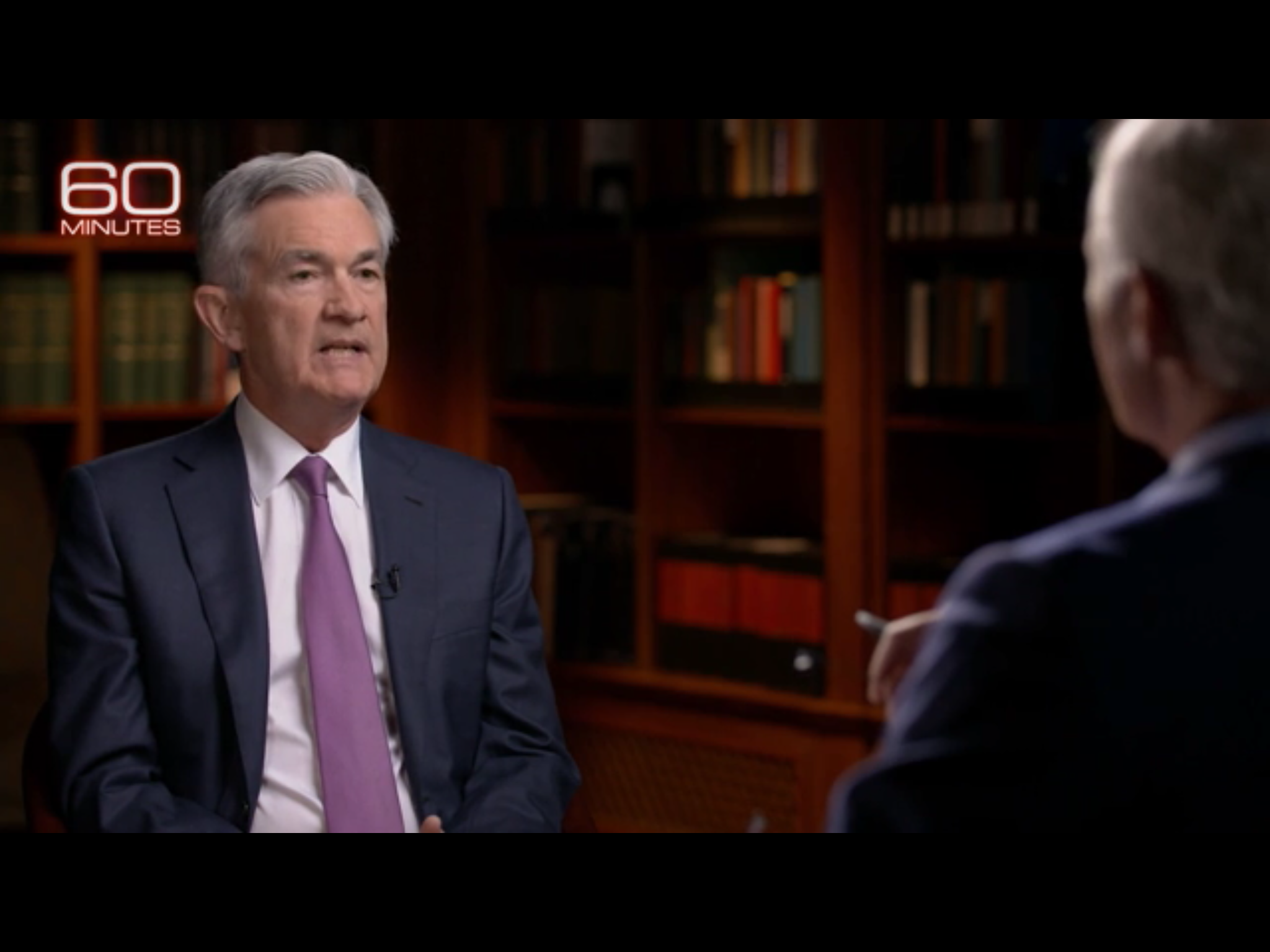 "Federal Reserve Chairman Jerome Powell is interviewed on CBS News' ""60 Minutes,"" March 10. 2019. CBS News screenshot."