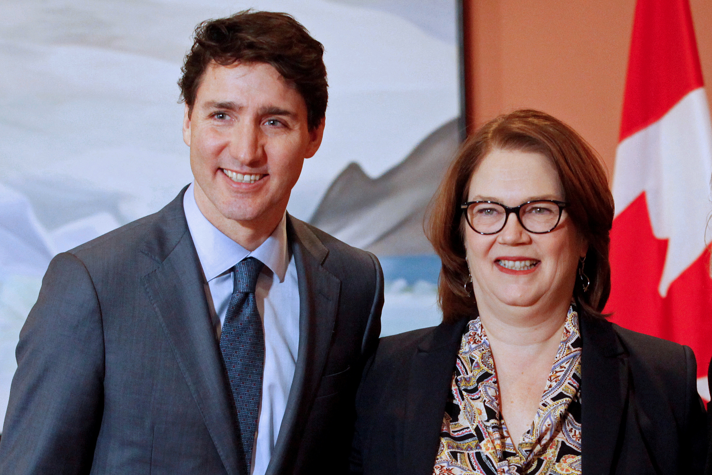 FILE PHOTO: Newly appointed president of the Treasury Board Jane Philpott poses for a photo with Prime Minister Justin Trudeau during Trudeau's cabinet shuffle, in Ottawa, Ontario, Canada, January 14, 2019. REUTERS/Patrick Doyle