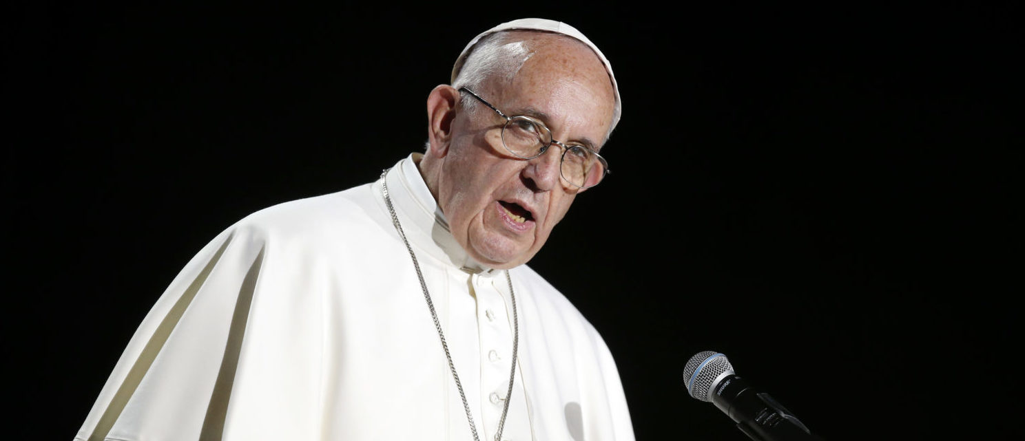 MALMO, SWEDEN - OCTOBER 31: Pope Francis gives a speech during the 'Together in Hope' event at Malmo Arena on October 31, 2016 in Malmo, Sweden. (Photo by Michael Campanella/Getty Images)