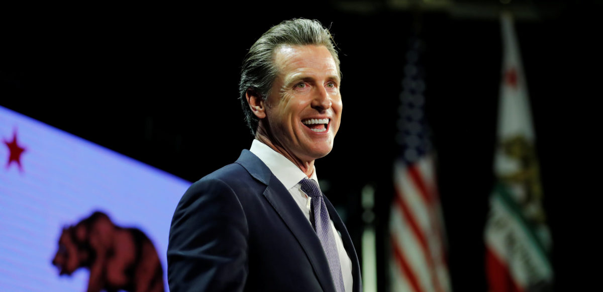 California Democratic gubernatorial candidate Gavin Newsom speaks after being elected governor of the state during an election night party in Los Angeles, California, U.S. November 6, 2018. REUTERS/Mike Blake