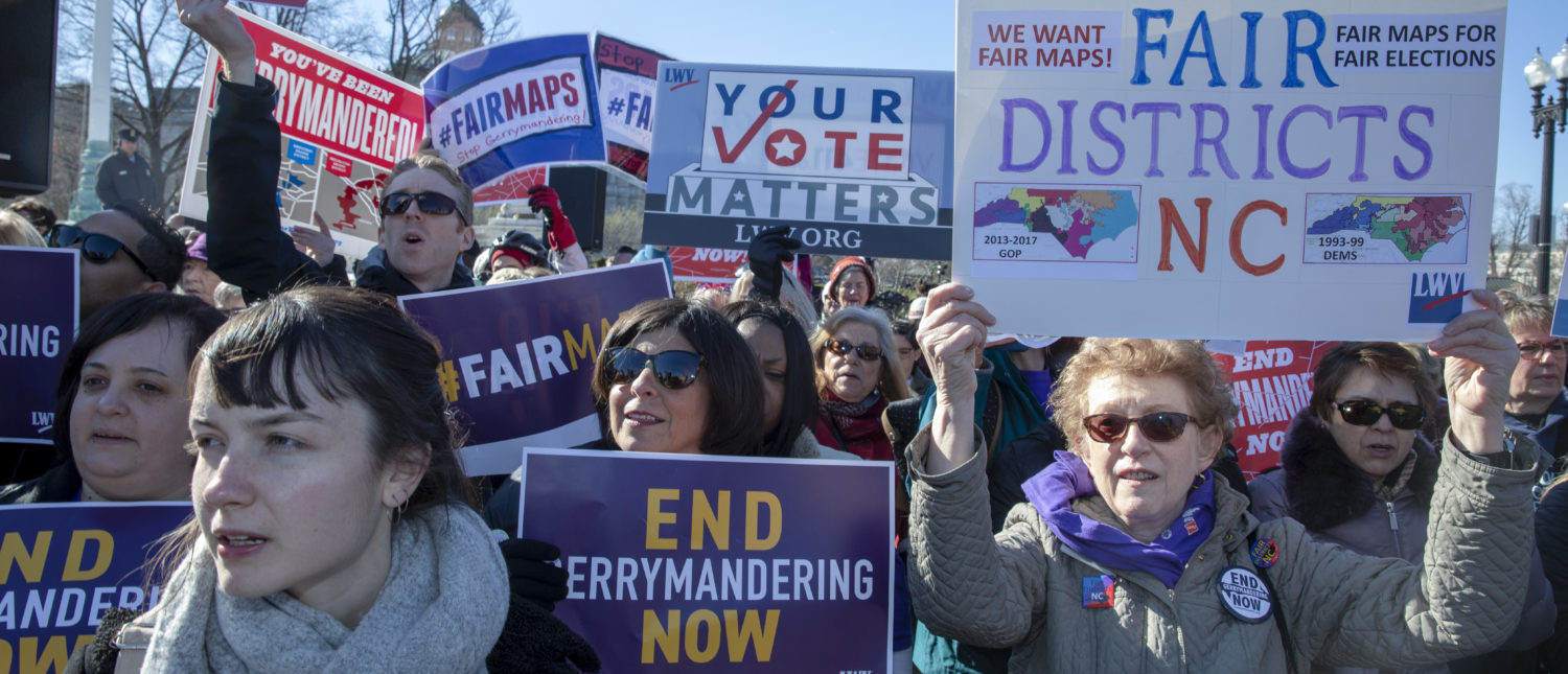 """Protesters attends a rally for """"Fair Maps"""" on March 26, 2019 in Washington, DC. The rally was part of the Supreme Court hearings in landmark redistricting cases out of North Carolina and Maryland (Tasos Katopodis/Getty Images)"""