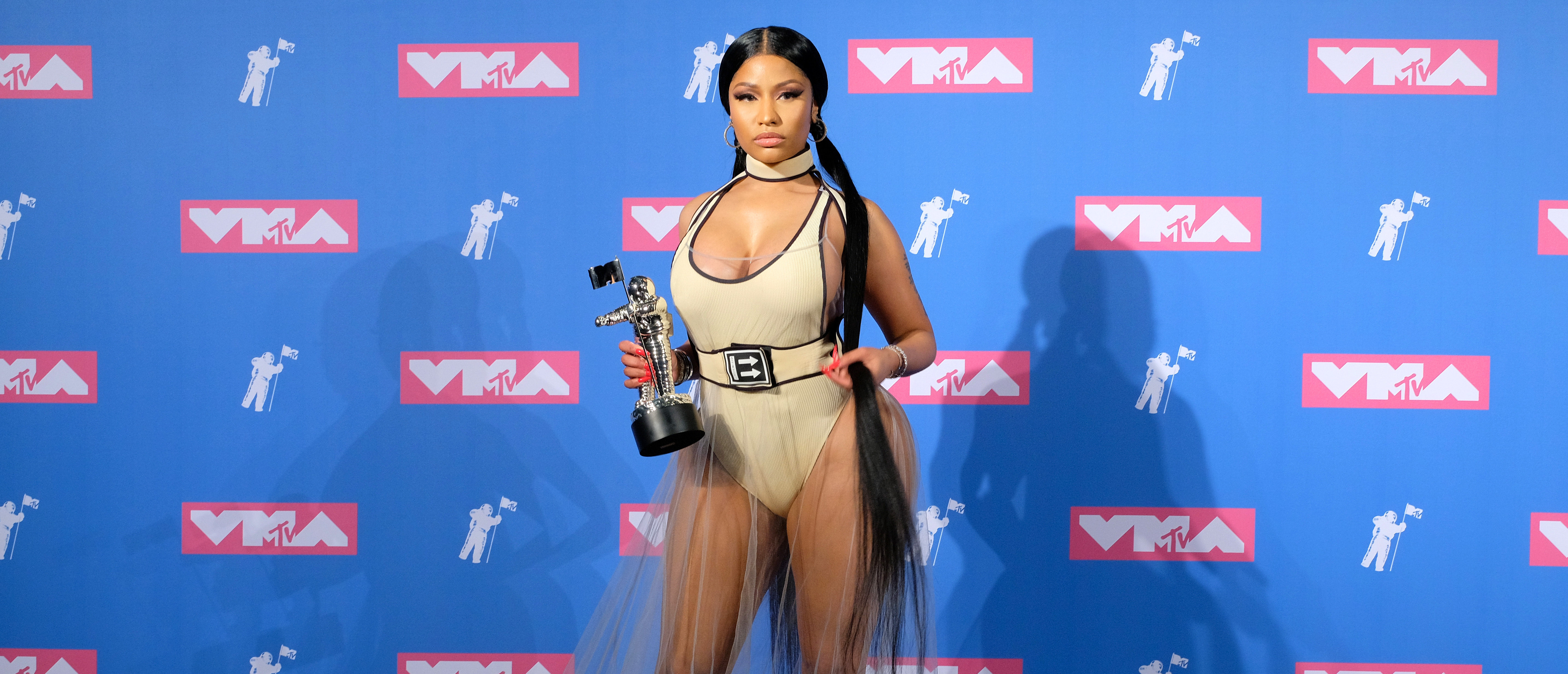 NEW YORK, NY - AUGUST 20: Nicki Minaj attends the 2018 MTV Video Music Awards Press Room at Radio City Music Hall on August 20, 2018 in New York City. (Photo by Matthew Eisman/Getty Images)