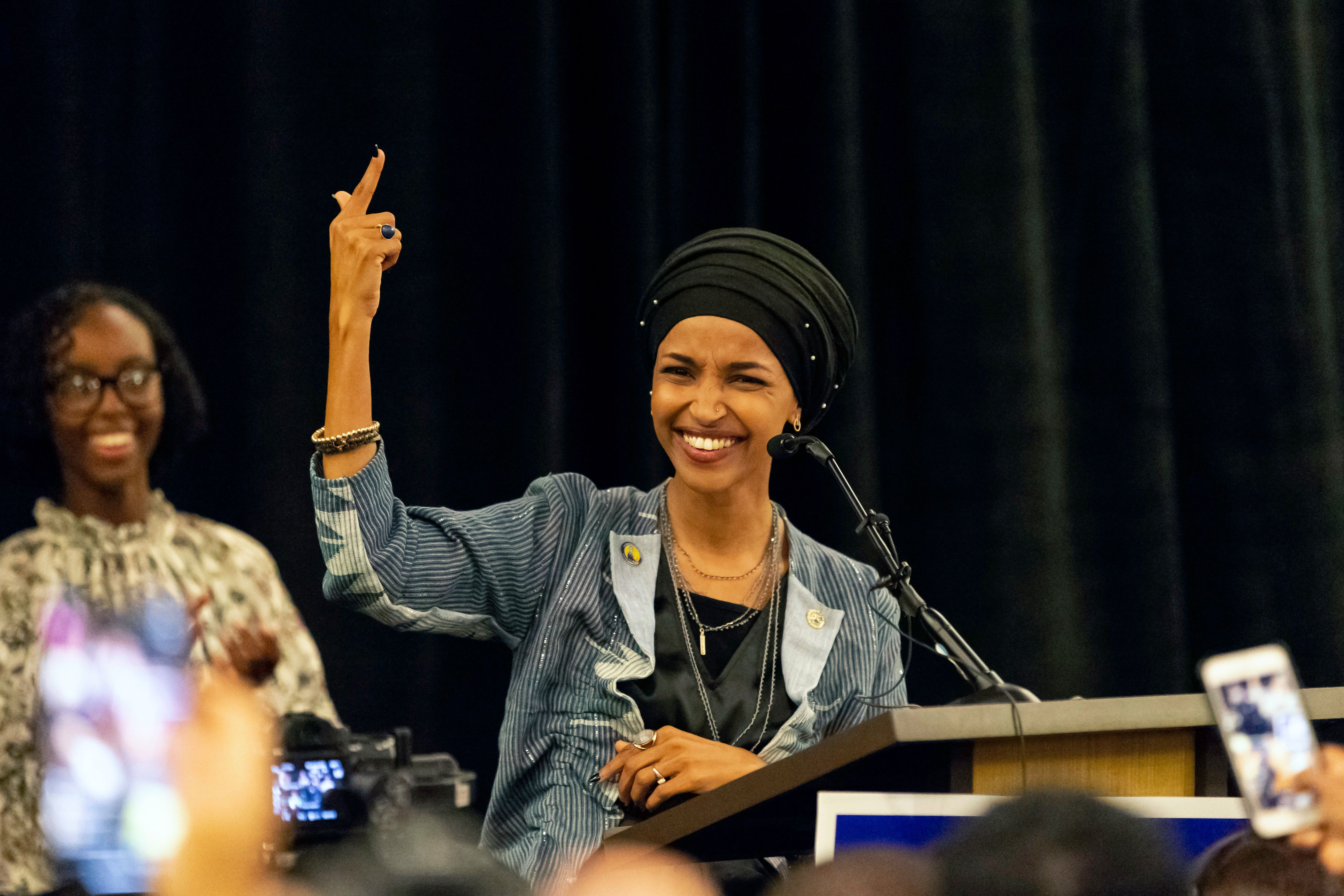 Ilhan Omar, newly elected to the U.S. House of Representatives on the Democratic ticket, speaks to a group of supporters in Minneapolis, Minnesota on November 6, 2018. - US voters elected two Muslim women, both Democrats, to Congress on November 6, 2018, marking a historic first in a country where anti-Muslim rhetoric has been on the rise, American networks reported. Ilhan Omar, a Somali refugee, won a House seat in a heavily-Democratic district in the Midwestern state of Minnesota, where she will succeed Keith Ellison, himself the first Muslim elected to Congress. (Photo by Kerem Yucel / AFP)
