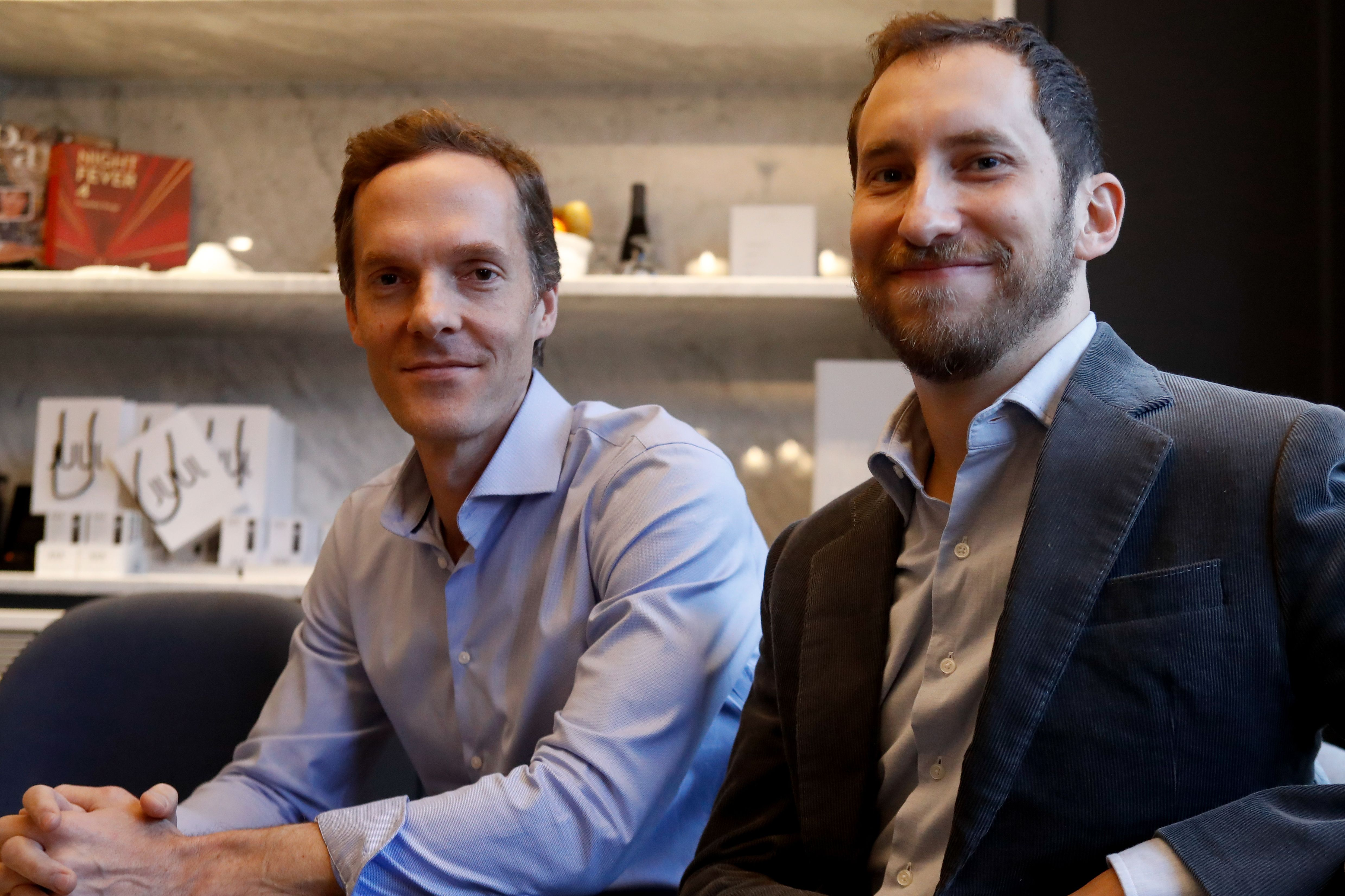 Co-founders of US start-up company Juul, Adam Bowen (L) and James Monsees pose in Paris on December 5, 2018. (FRANCOIS GUILLOT/AFP/Getty Images)