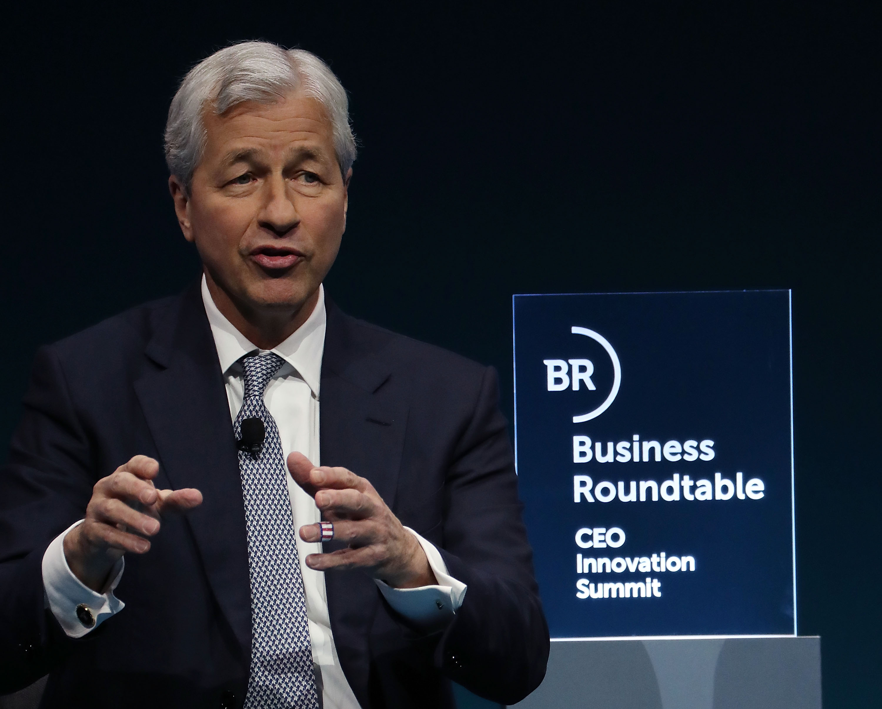"Jamie Dimon, chairman and CEO of JPMorgan Chase, participates in a Business Roundtable discussion on ""Ambitious Innovation"" sustaining U.S. leadership, during a CEO Innovation Summit, on December 6, 2018 in Washington, DC. (Photo by Mark Wilson/Getty Images)"