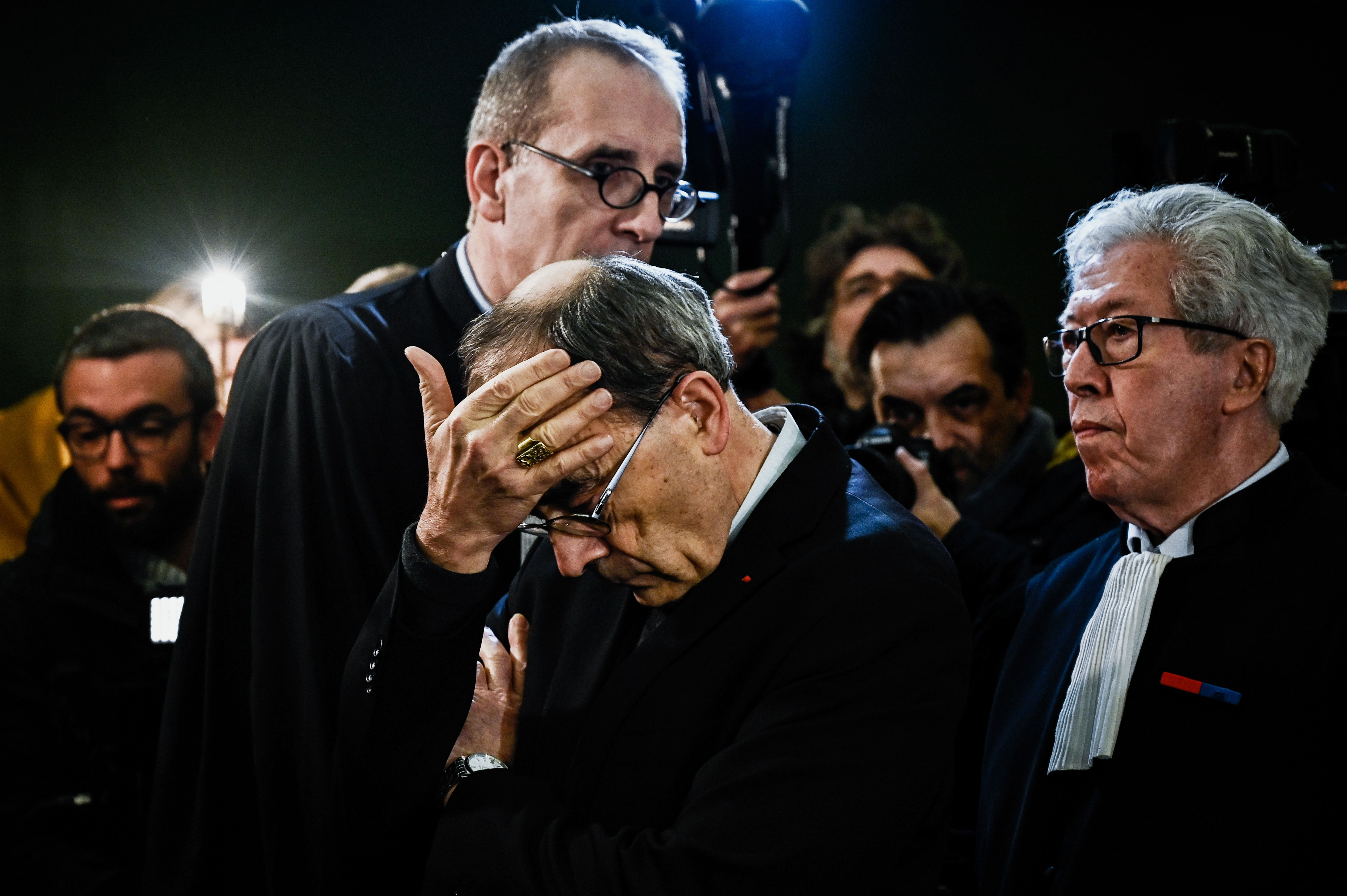 Lyon archbishop, cardinal Philippe Barbarin gestures as he arrives in Lyon court to attend his trial, on January 7, 2019. (JEFF PACHOUD/AFP/Getty Images)