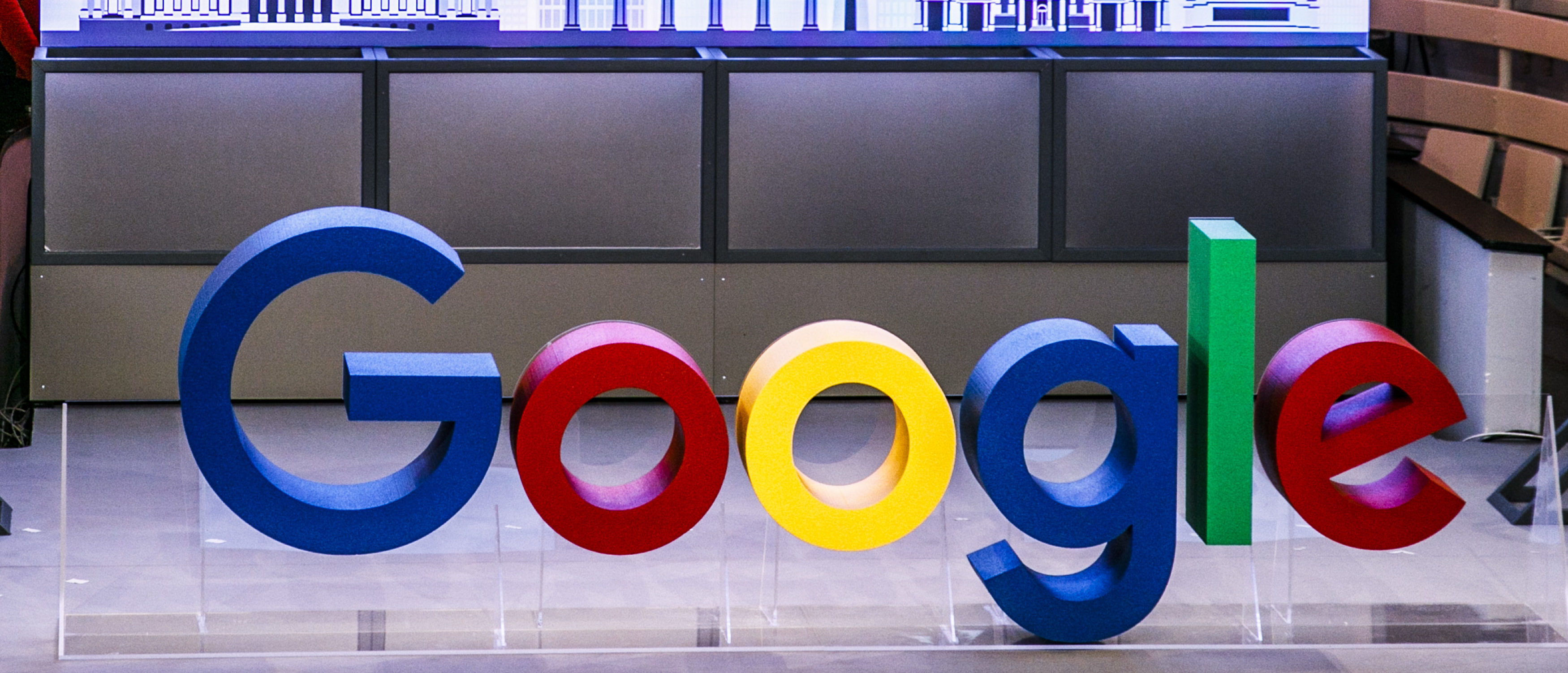 BERLIN, GERMANY - JANUARY 22: Letters show the name Google on the stage in the auditorium before the festive opening of the Berlin representation of Google Germany on January 22, 2019 in Berlin, Germany. Carsten Koall/Getty Images)