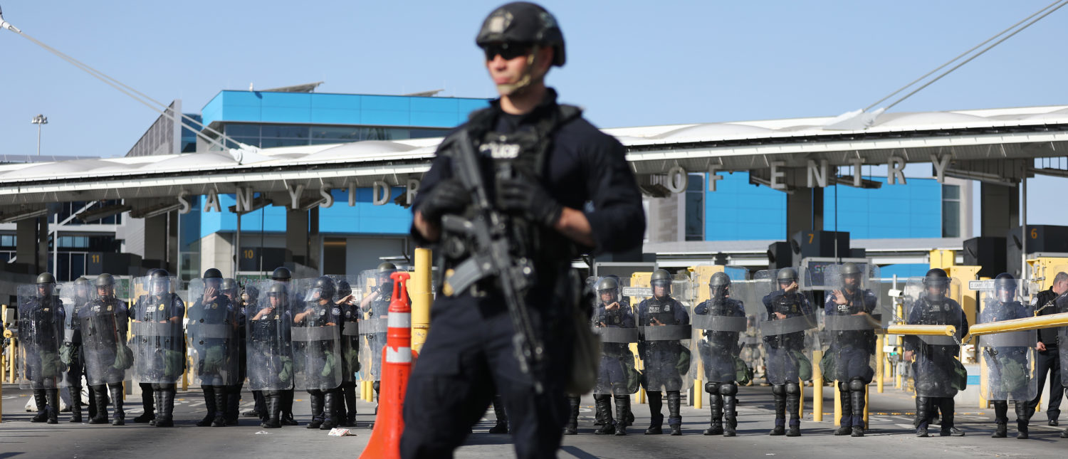 TIJUANA, MEXICO - JANUARY 10: U.S. Customs and Border Protection (CBP) agents stand guard on the U.S. side of the U.S.-Mexico border during a 'large-scale operational readiness exercise' on January 10, 2019 as seen from Tijuana, Mexico. President Trump is visiting the southern border in Texas today. (Photo by Mario Tama/Getty Images)