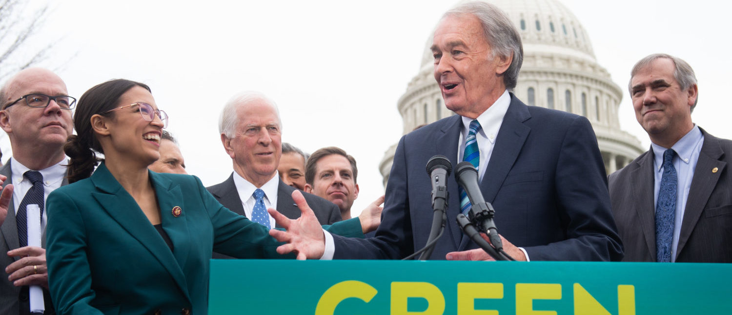 US Representative Alexandria Ocasio-Cortez, Democrat of New York, and US Senator Ed Markey (R), Democrat of Massachusetts, speak during a press conference to announce Green New Deal legislation to promote clean energy programs outside the US Capitol in Washington, DC, February 7, 2019. (Photo: read SAUL LOEB/AFP/Getty Images)