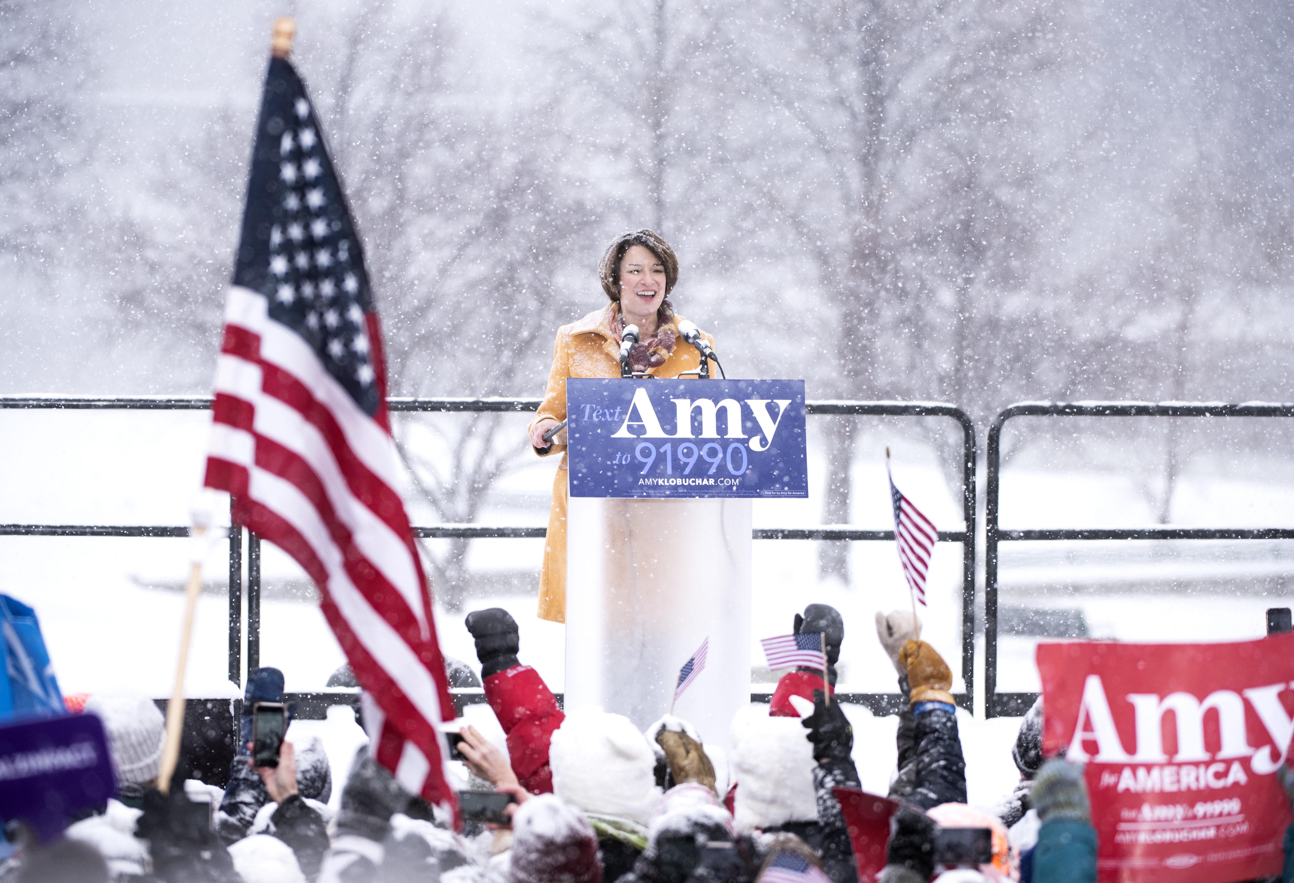 Sen. Amy Klobuchar announces her 2020 presidential bid on February 10, 2019 in Minneapolis, Minnesota. (Photo by Stephen Maturen/Getty Images)