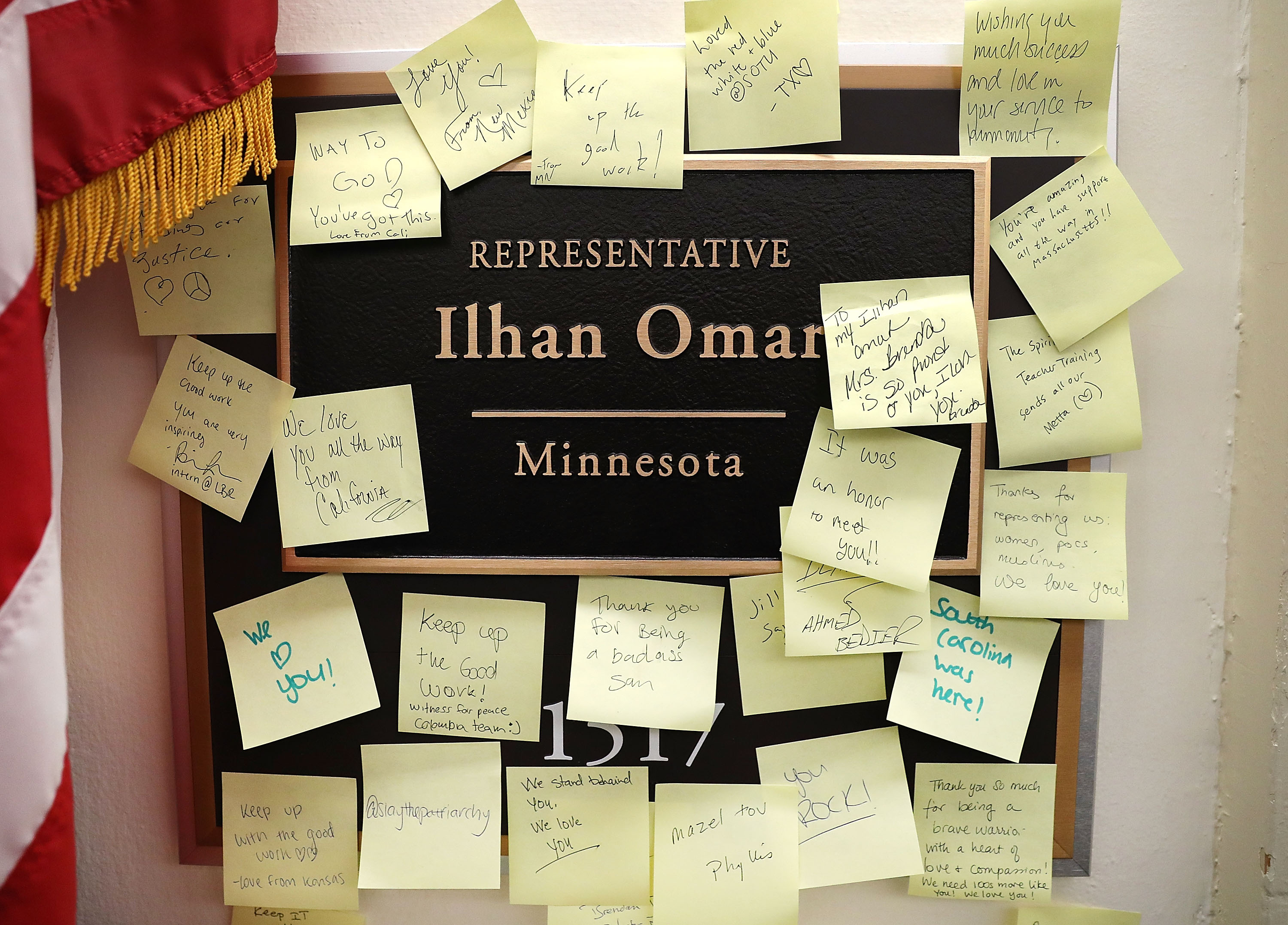 Notes of support are posted on the name plate outside the office of Rep. Ilhan Omar in the Longworth House Office Building on February 11, 2019 in Washington, DC. (Photo by Mark Wilson/Getty Images)