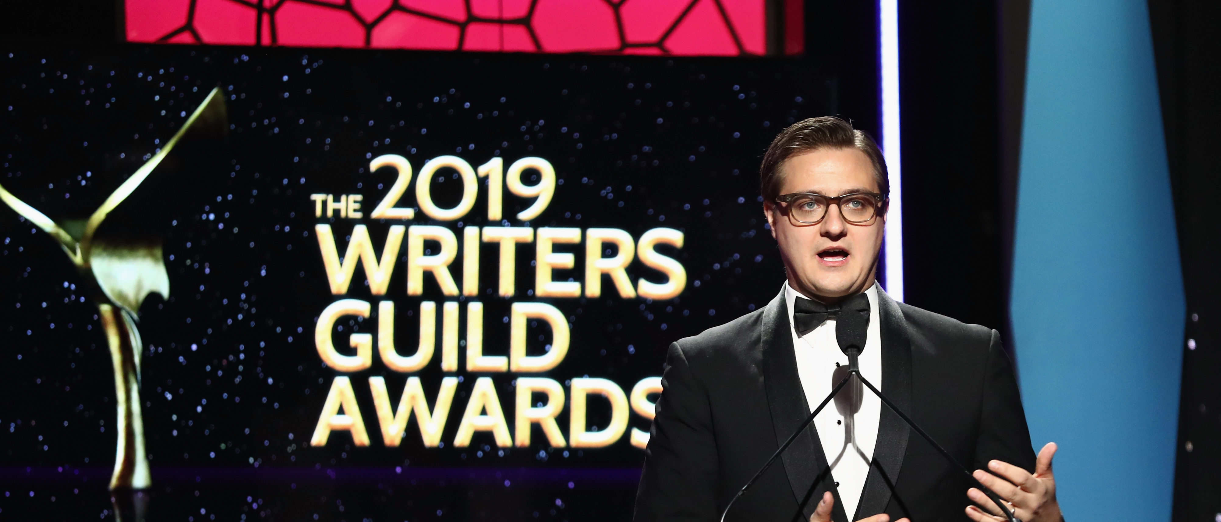 BEVERLY HILLS, CA - FEBRUARY 17: Chris Hayes speaks during the 2019 Writers Guild Awards Beverly Hills, California. (Photo by Rich Fury/Getty Images for WGAw)