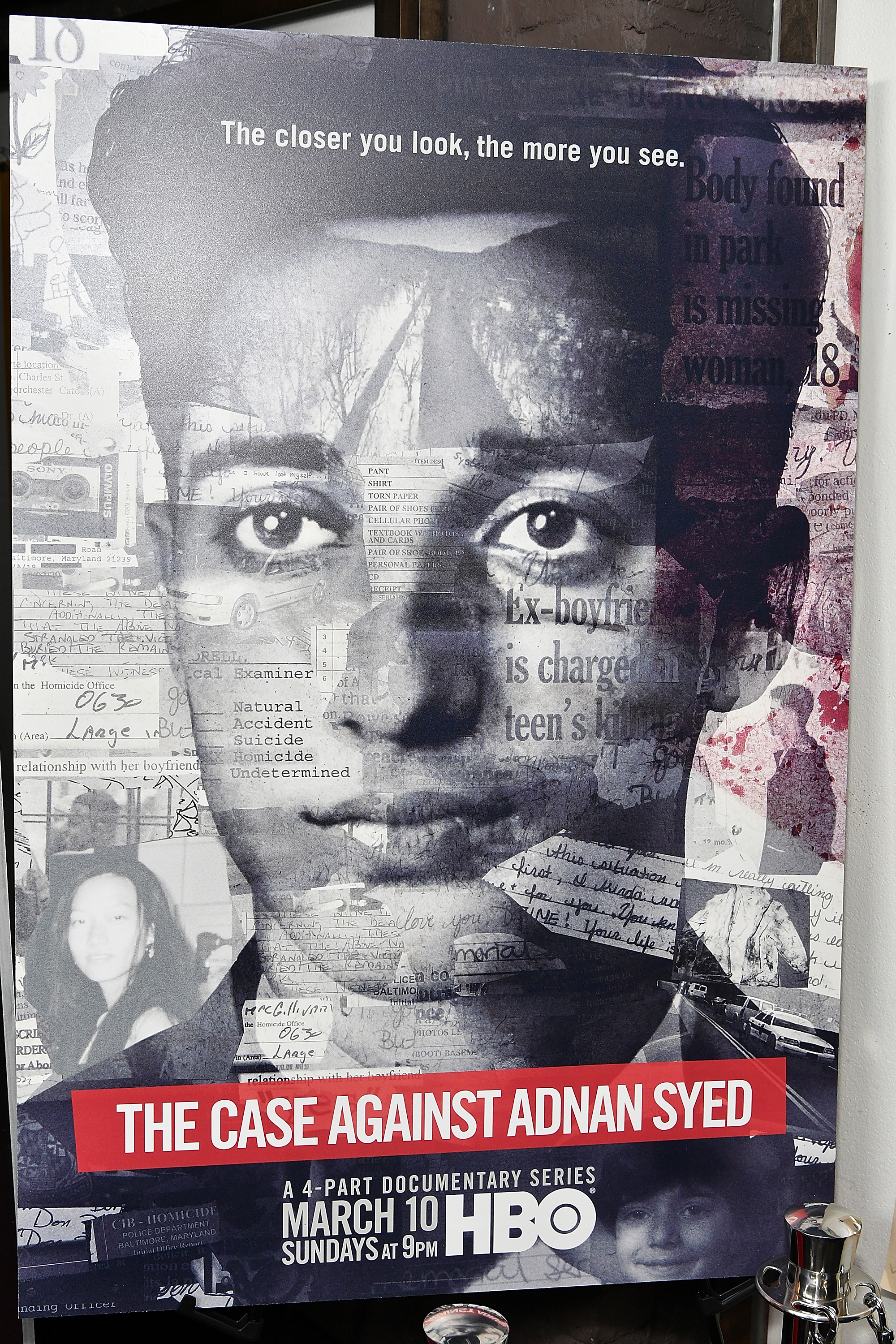 """A view of the poster at NY premiere of HBO's """"The Case Against Adnan Syed"""" at PURE NON FICTION on February 26, 2019 in New York City. (Photo by Slaven Vlasic/Getty Images for HBO)"""