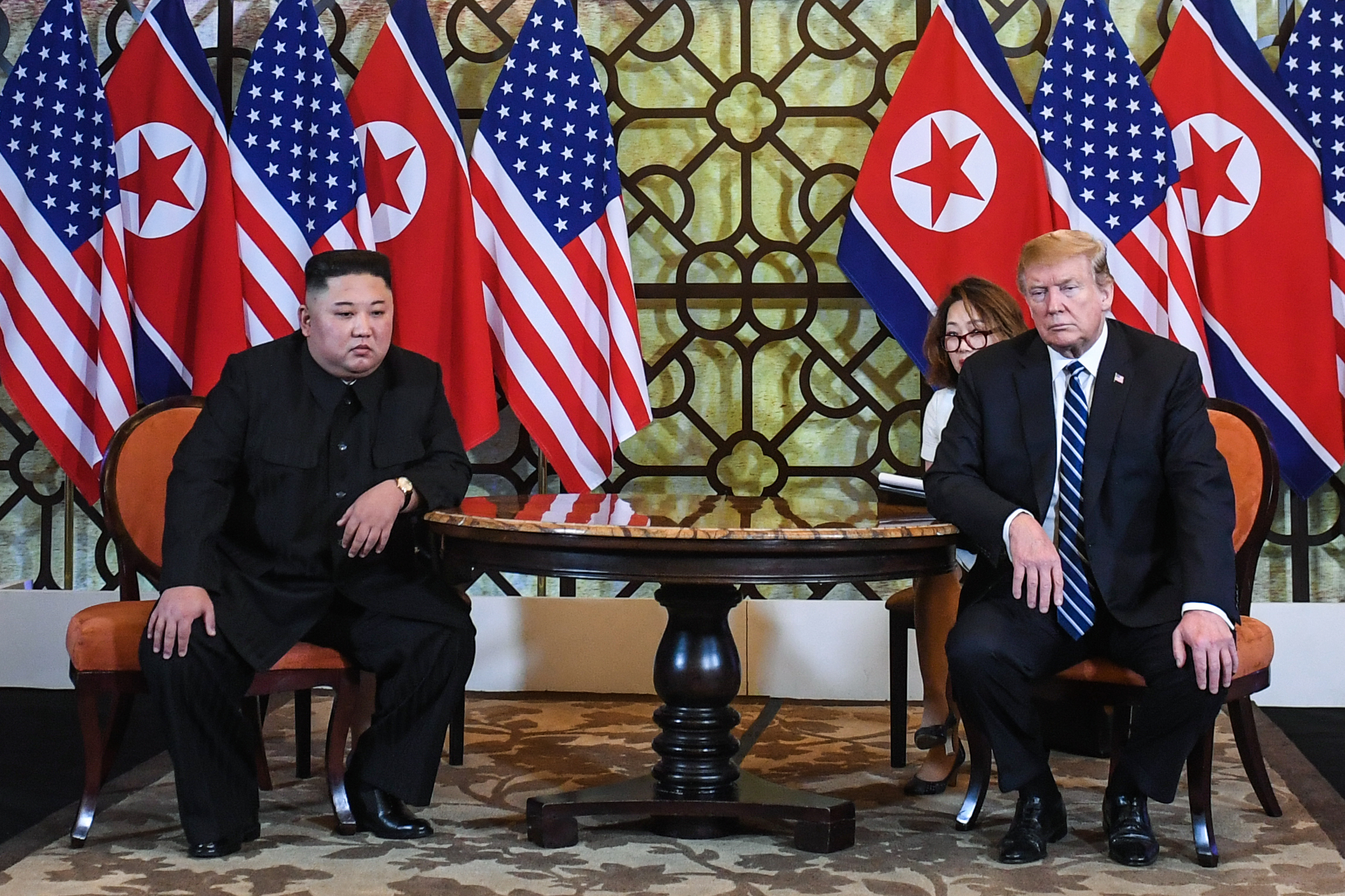 President Donald Trump (R) and North Korea's leader Kim Jong Un hold a meeting during the second US-North Korea summit at the Sofitel Legend Metropole hotel in Hanoi on February 28, 2019. (SAUL LOEB/AFP/Getty Images)
