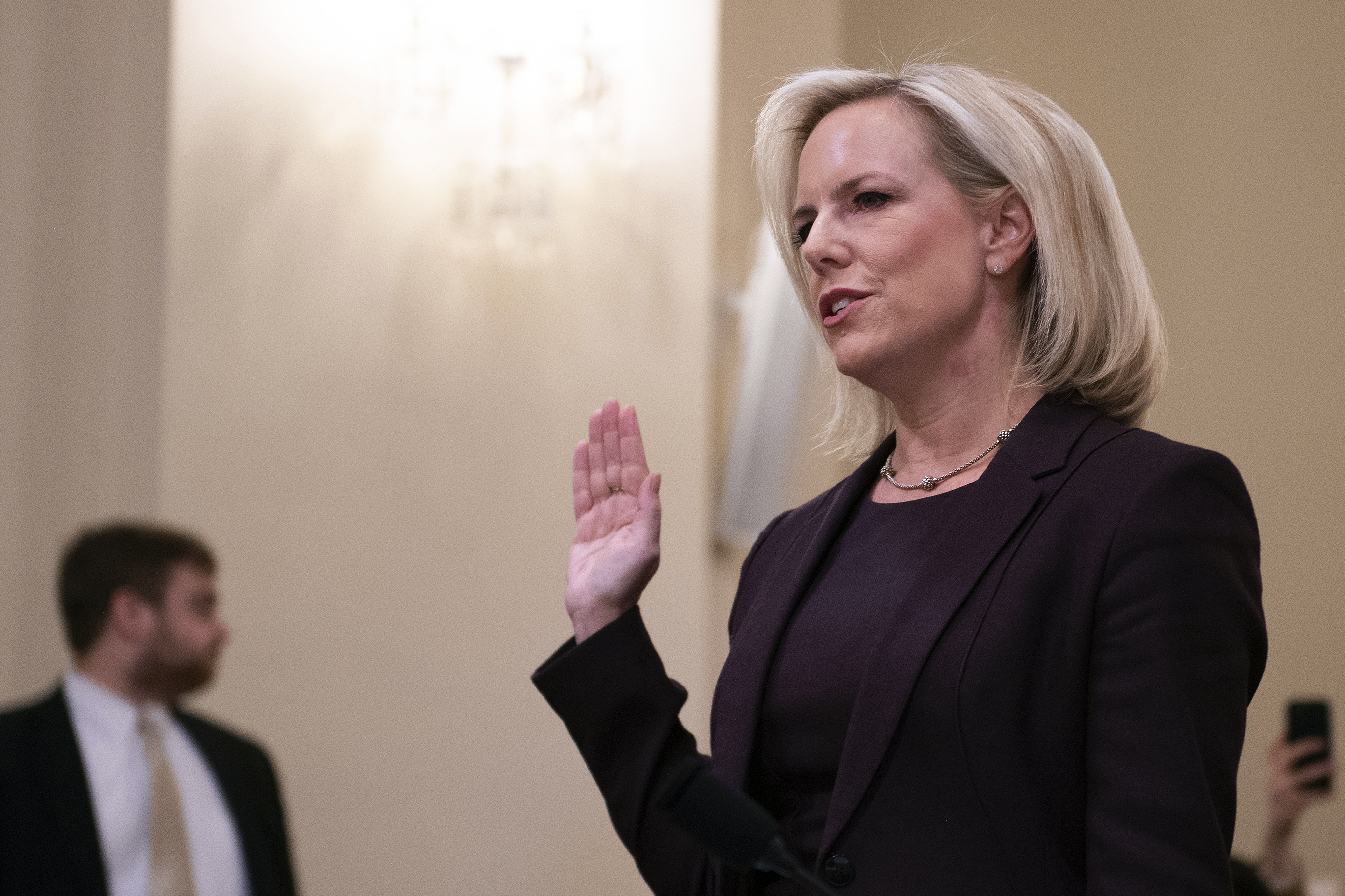 Homeland Security Secretary Kirstjen Nielsen is sworn in as she testifies before the House Homeland Security Committee on border security on Capitol Hill in Washington, DC, March 6, 2019. (Photo by JIM WATSON/AFP/Getty Images)