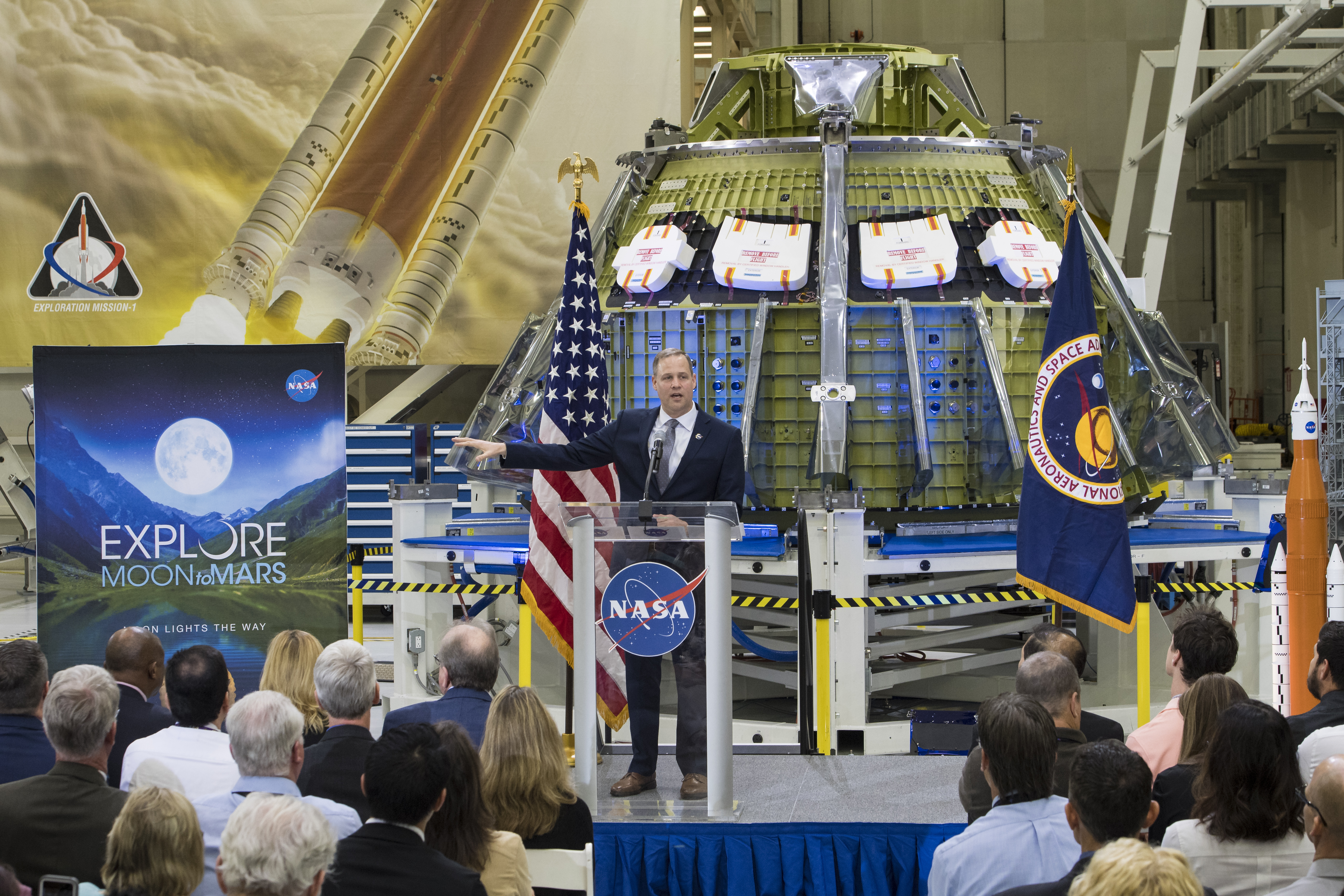 CAPE CANAVERAL, FL - MARCH 11: NASA Administrator Jim Bridenstine talks to employees about the agency's progress toward sending astronauts to the Moon and on to Mars during a televised event at the Neil Armstrong Operations and Checkout Building at NASA's Kennedy Space Center on March 11, 2019 in Cape Canaveral, Florida. (Aubrey Gemignani/NASA via Getty Images)