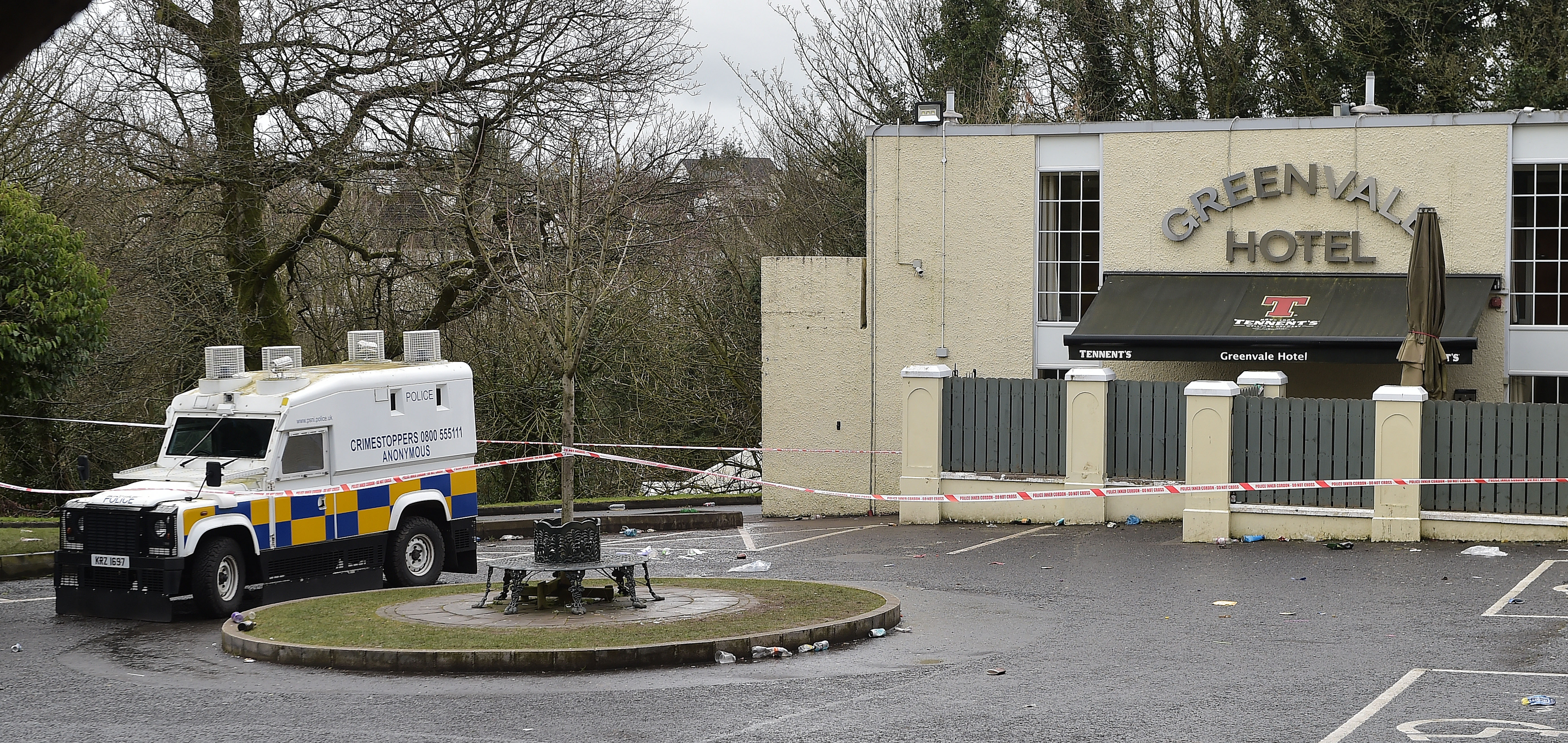 COOKSTOWN, NORTHERN IRELAND - MARCH 18: The scene outside the Greenvale Hotel night club on March 18, 2019 in Cookstown, Northern Ireland. (Charles McQuillan/Getty Images)