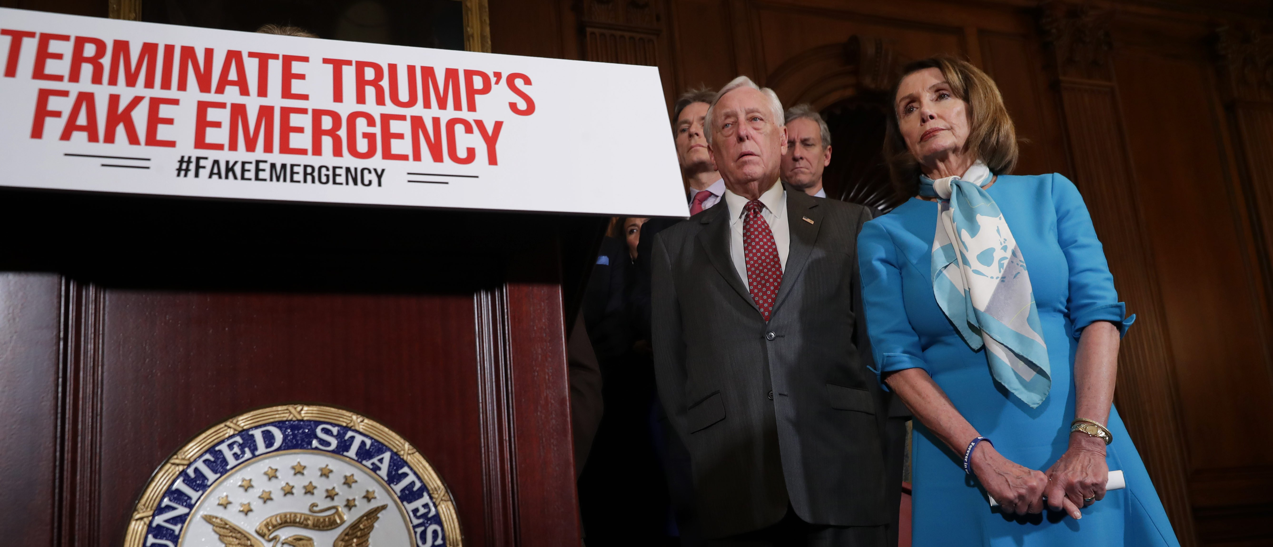 WASHINGTON, DC - FEBRUARY 25: Speaker of the House Nancy Pelosi (D-CA) (R) is joined by House Majority Leader Steny Hoyer (D-MD) and other House Democrats for a news conference on the Privileged Resolution to Terminate President Donald Trump's emergency declaration February 25, 2019 (Photo by Chip Somodevilla/Getty Images)