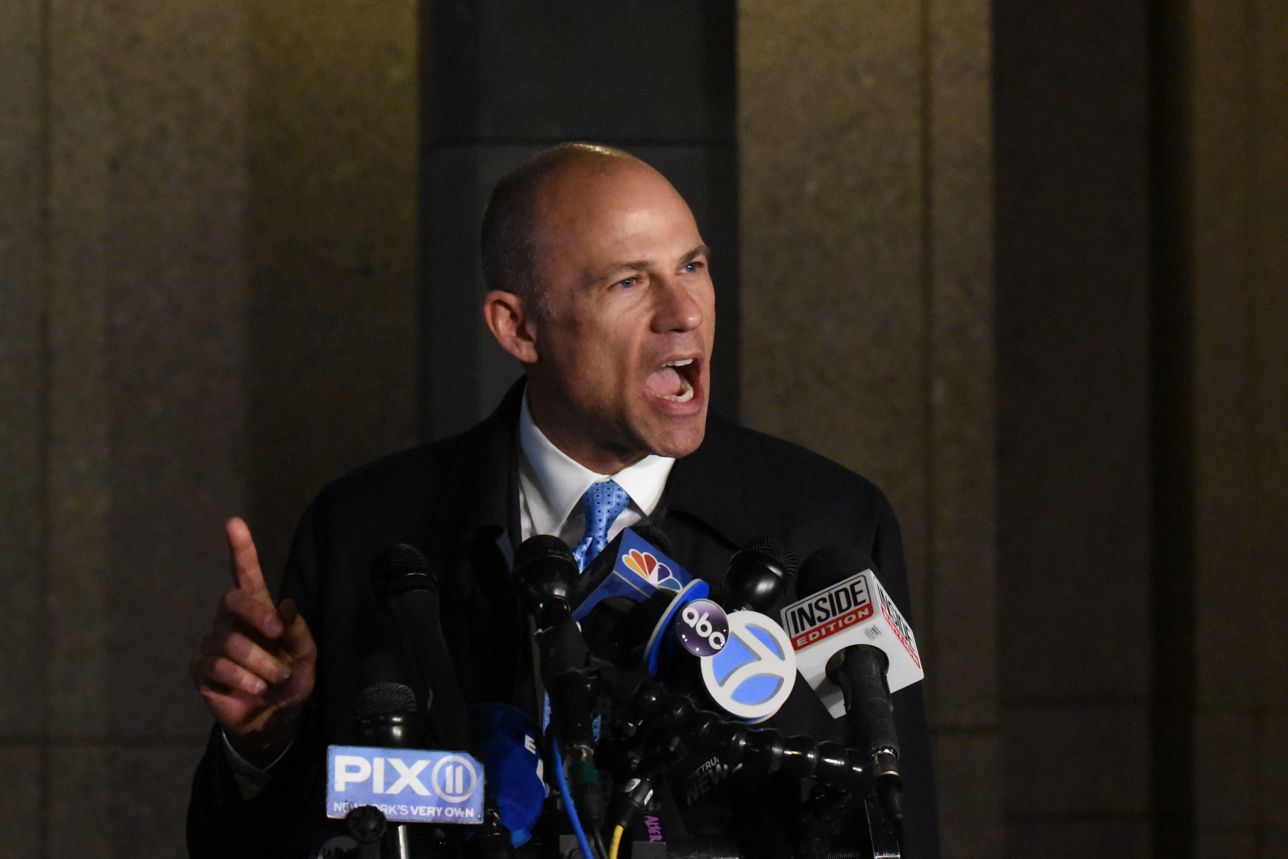 Michael Avenatti, the former lawyer for adult film actress Stormy Daniels' and a fierce critic of President Donald Trump, speaks to the media after being arrested for allegedly trying to extort Nike for $15-$25 million on March 25, 2019 in New York City. (Photo by Stephanie Keith/Getty Images)