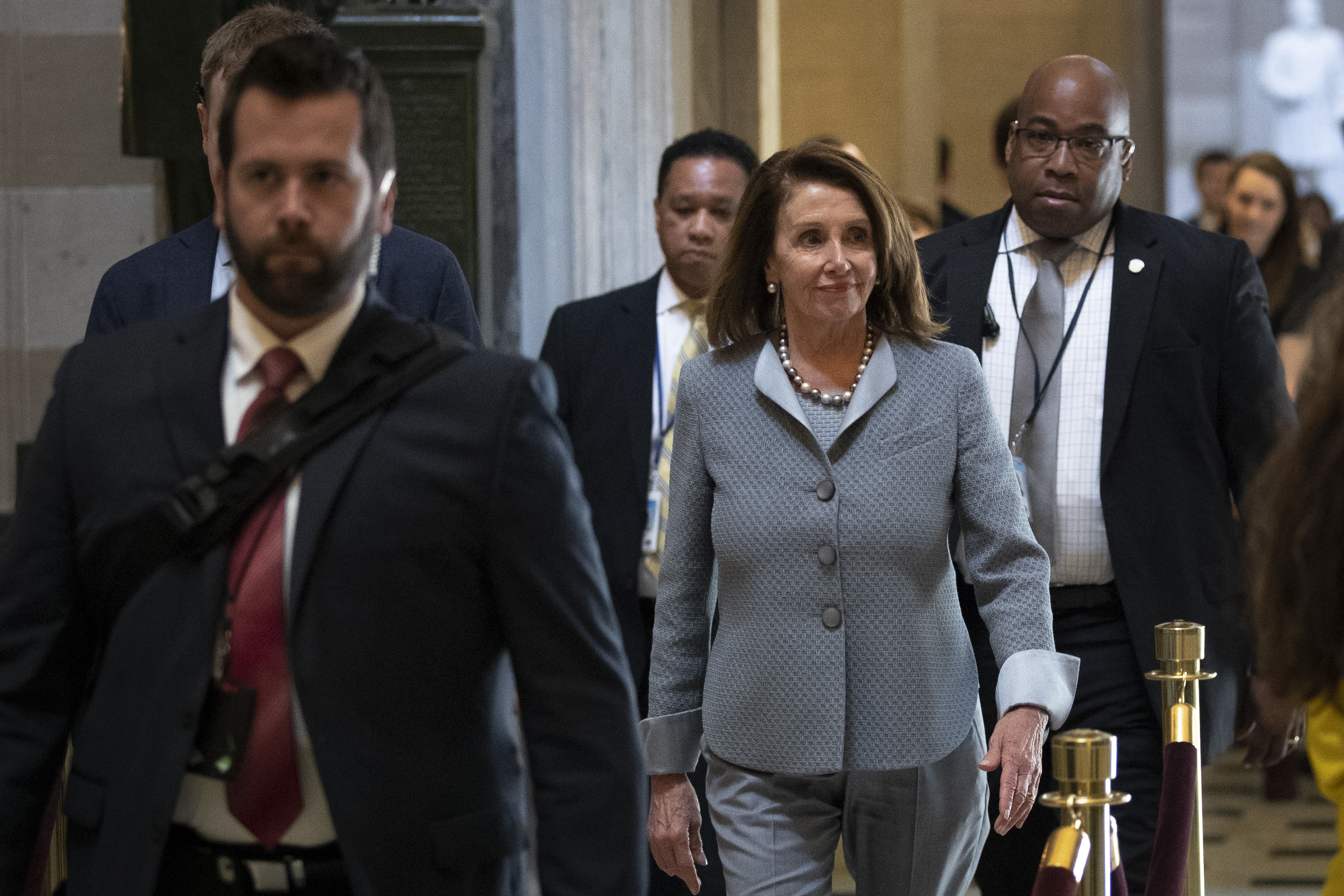 Speaker of the House Nancy Pelosi walks through Statuary Hall after leaving her office at the U.S. Capitol, March 26, 2019 in Washington, DC. (Photo by Drew Angerer/Getty Images)