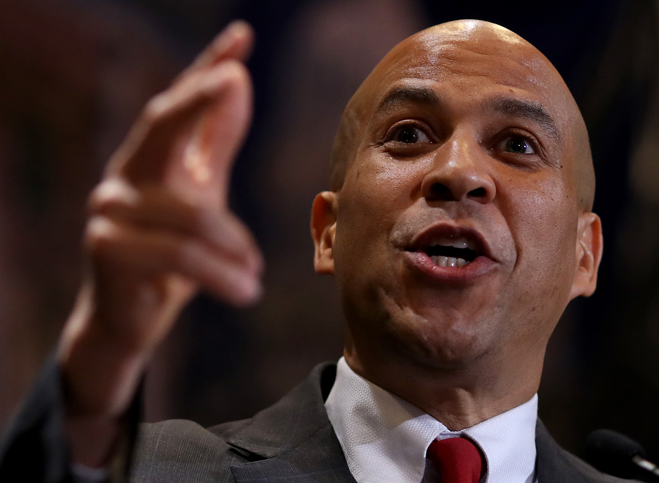 Democratic presidential candidate Sen. Cory Booker speaks at the International Association of Machinists and Aerospace Workers annual legislative conference May 7, 2019 in Washington, DC. (Photo by Win McNamee/Getty Images)