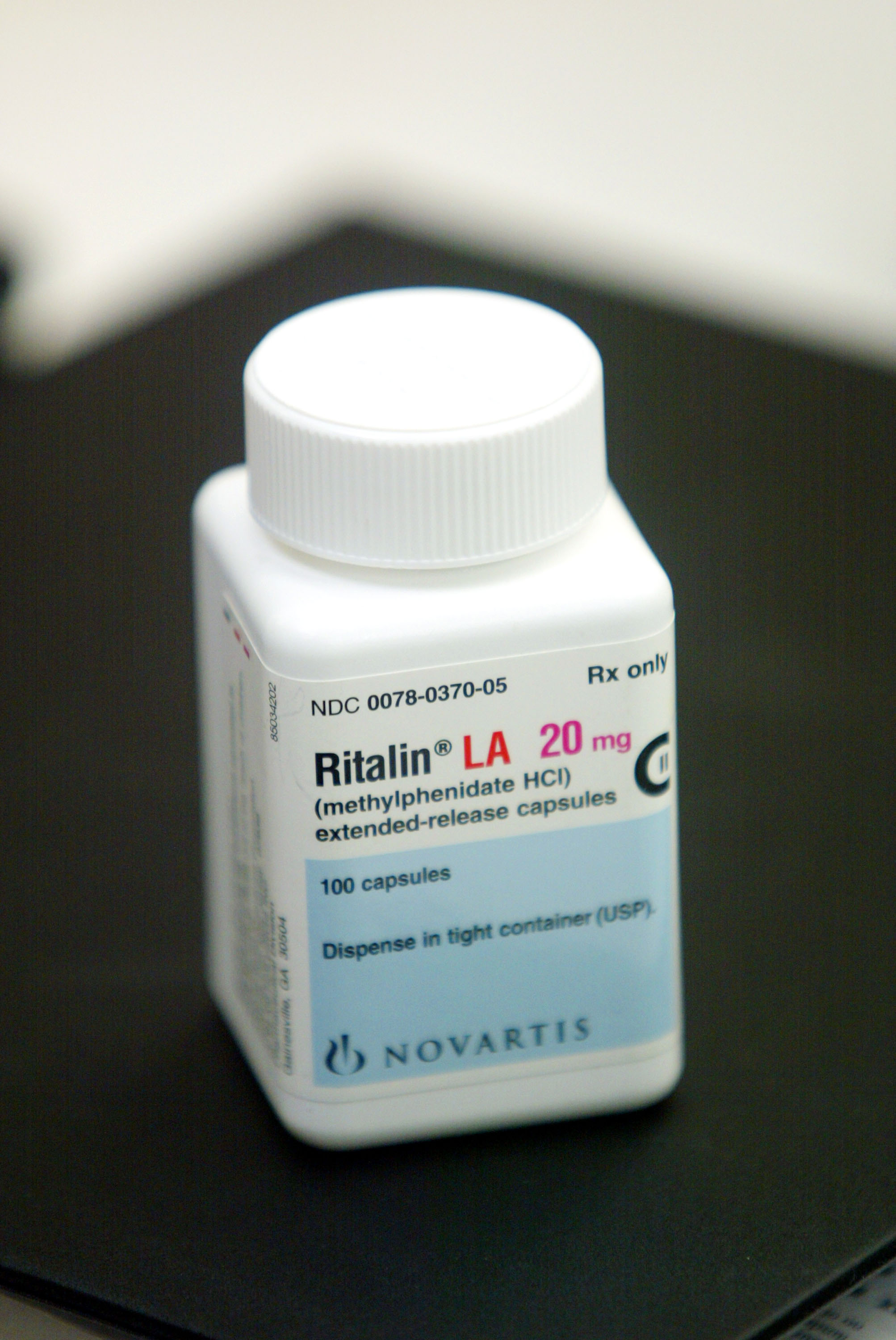 A bottle of Ritalin sits on the counter of the Post Haste Pharmacy And Surgical Store on June 16, 2003 in Hollywood, Florida. (Photo by Joe Raedle/Getty Images)