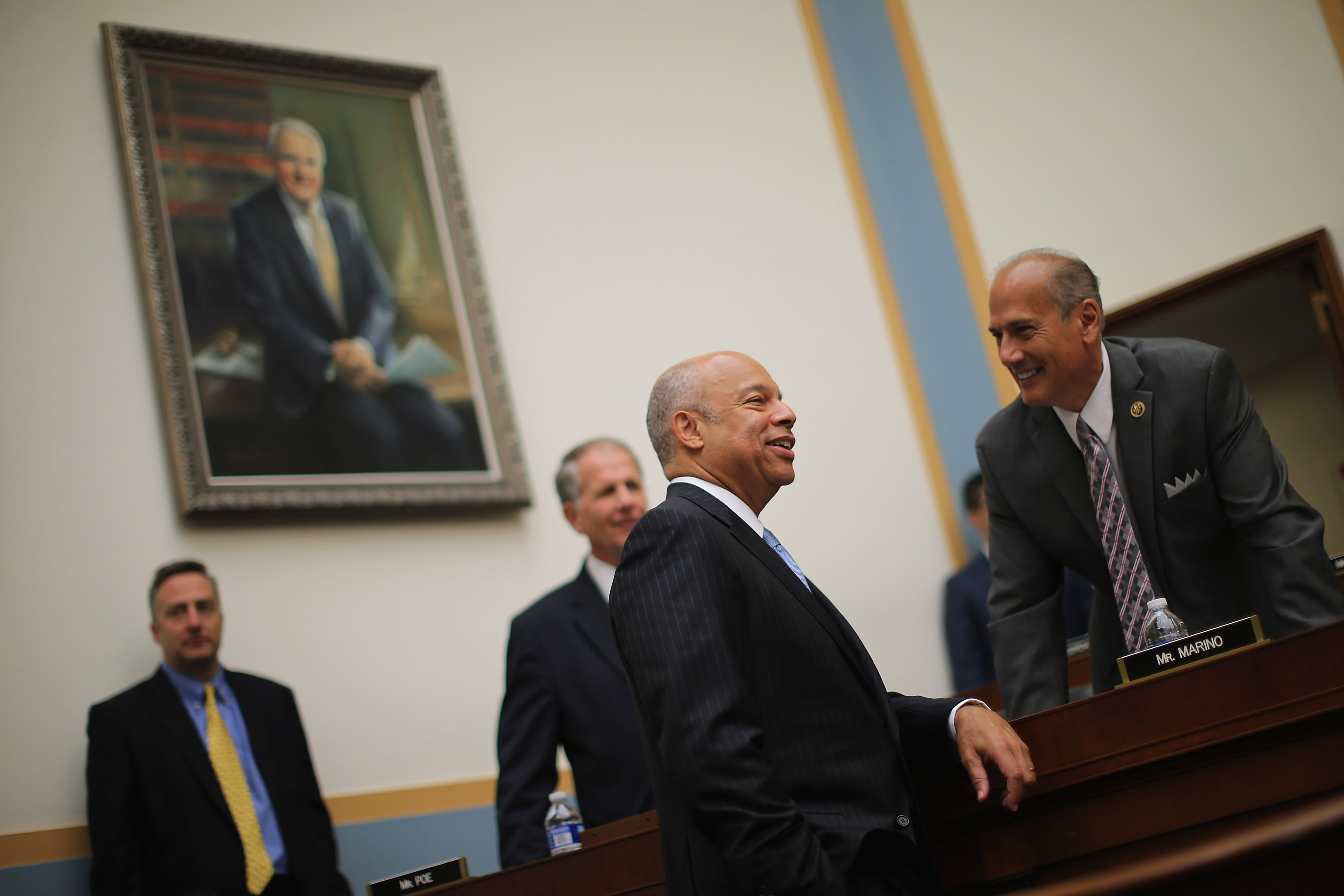House Judiciary Committee member Rep. Thomas Marino (R) talks with U.S. Homeland Security Secretary Jeh Johnson before a committee hearing about oversight of the department July 14, 2015 in Washington, DC. (Photo by Chip Somodevilla/Getty Images)