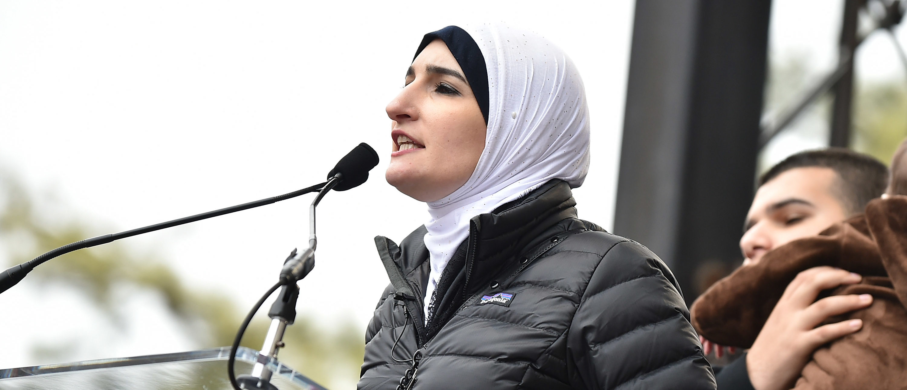 WASHINGTON, DC - JANUARY 21: Linda Sarsour speaks onstage during the Women's March on Washington on January 21, 2017 in Washington, DC. (Photo by Theo Wargo/Getty Images)