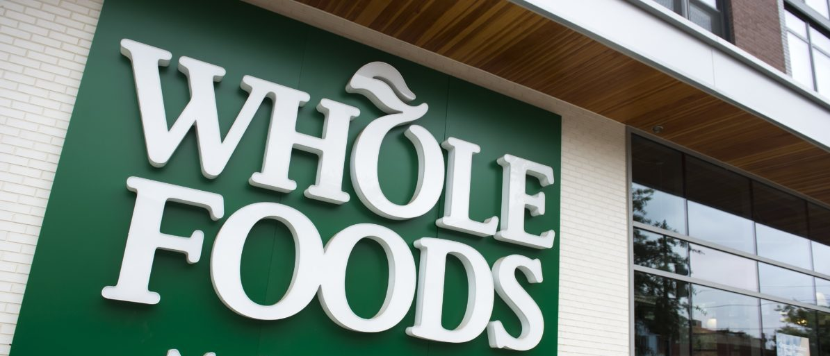 A Whole Foods Market sign is seen in Washington, DC, June 16, 2017, following the announcement that Amazon would purchase the supermarket chain for $13.7 billion. SAUL LOEB/AFP/Getty Images)