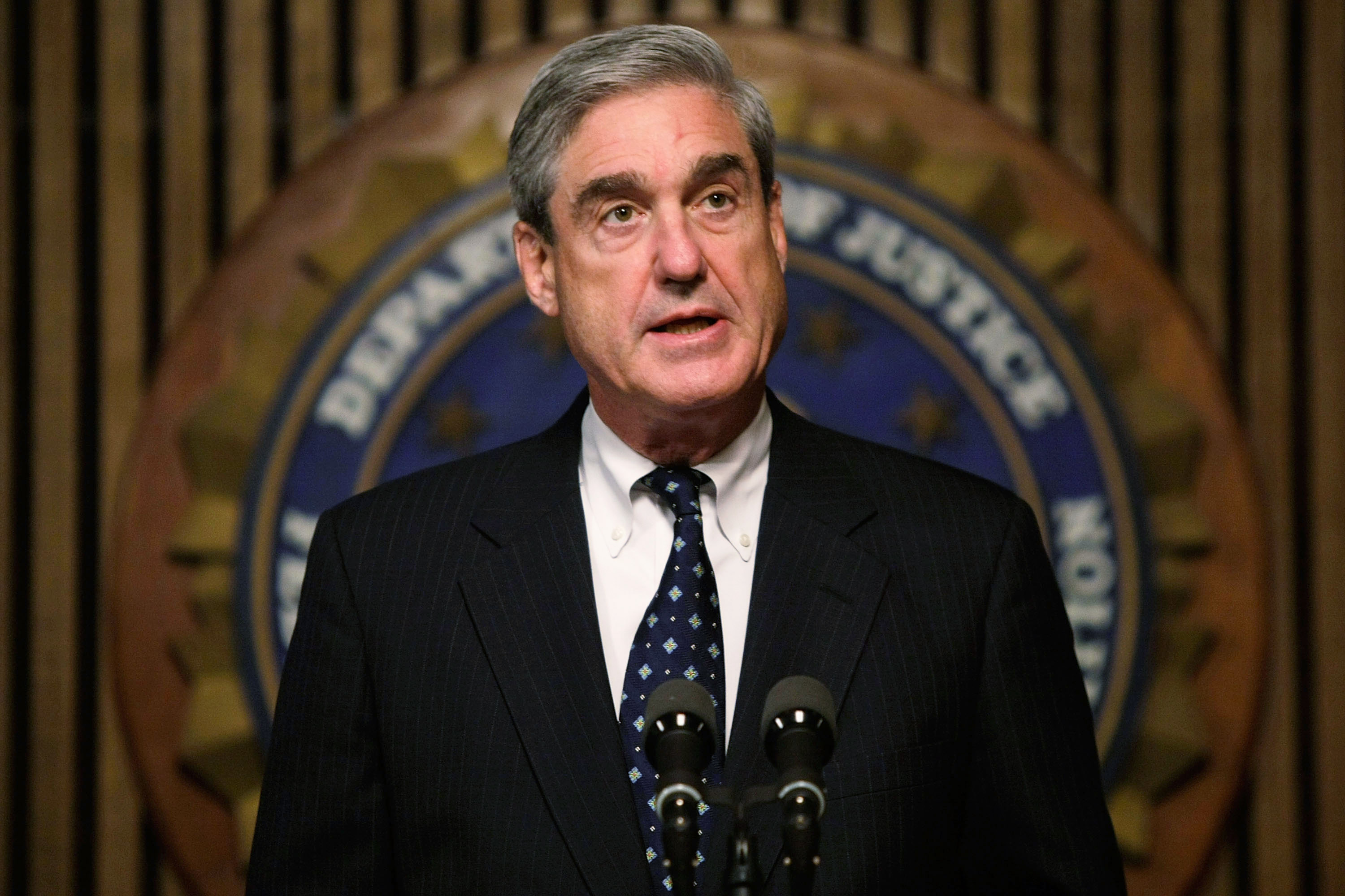 FBI Director Robert Mueller speaks during a news conference at the FBI headquarters June 25, 2008 in Washington, DC. The news conference was to mark the 5th anniversary of Innocence Lost initiative. (Photo by Alex Wong/Getty Images)