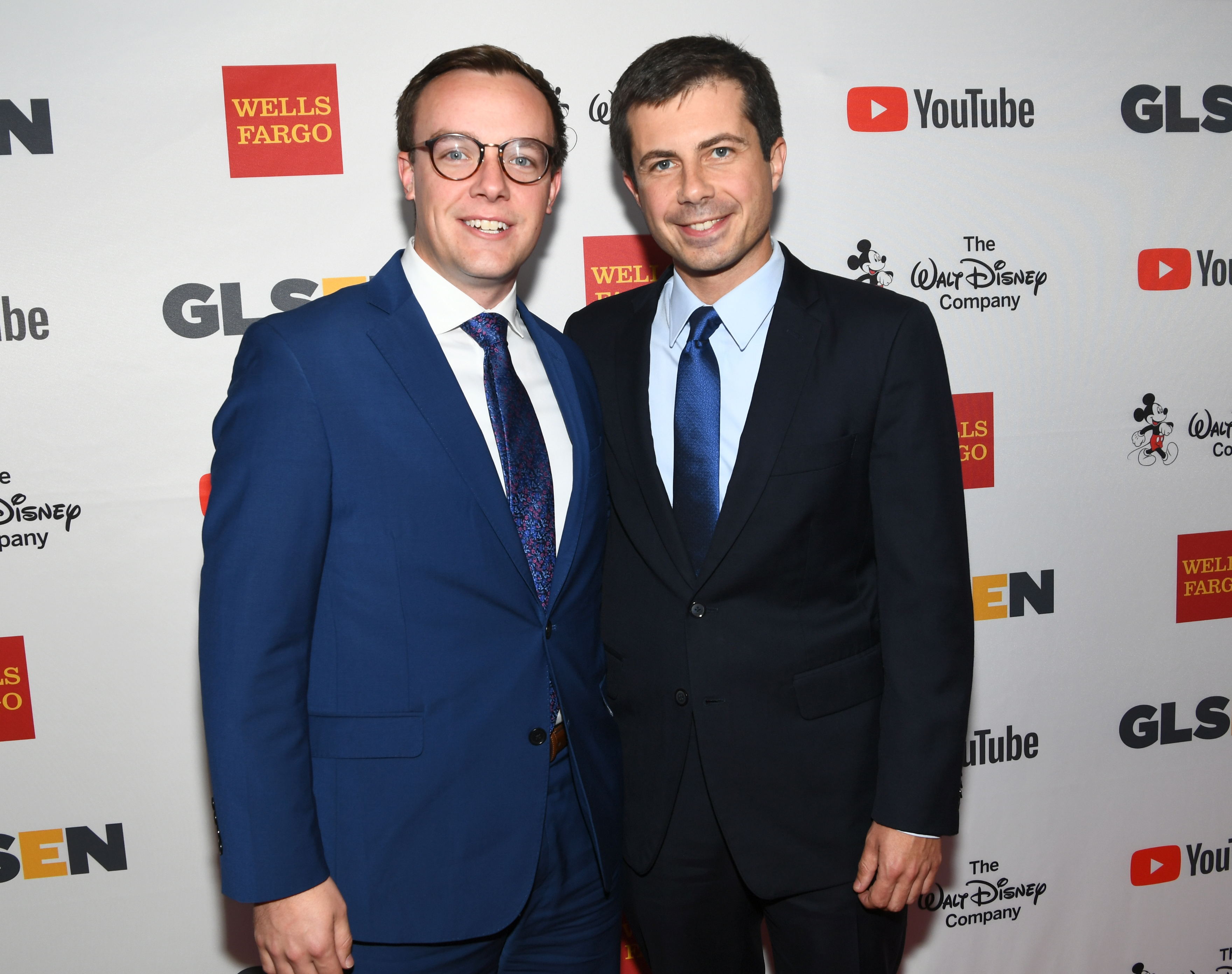 Chasten Glezman (L), and Mayor Peter Buttigieg at the 2017 GLSEN Respect Awards at the Beverly Wilshire Hotel on October 20, 2017 in Los Angeles, California. (Photo by Emma McIntyre/Getty Images for GLSEN)