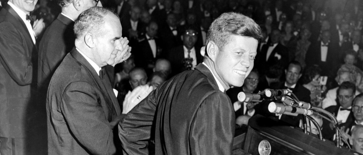 (FILES) This May 14, 1960, file photo shows Democratic Nominee John F. Kennedy during his Presidential Campaign in New York City. US President Donald Trump said October 21, 2017 he will allow long blocked secret files on the 1963 assassination of John F Kennedy to be opened to the public for the first time.The November 22, 1963 assassination -- an epochal event in modern US history -- has spawned multiple theories challenging the official version that Kennedy was killed a lone gunman, Lee Harvey Oswald. / AFP PHOTO /Getty Images)