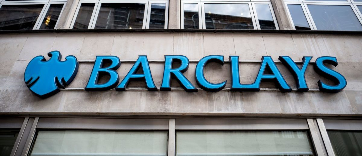 Signage is seen at the front of a branch of Barclays bank in central London on October 22, 2017.(TOLGA AKMEN/AFP/Getty Images)