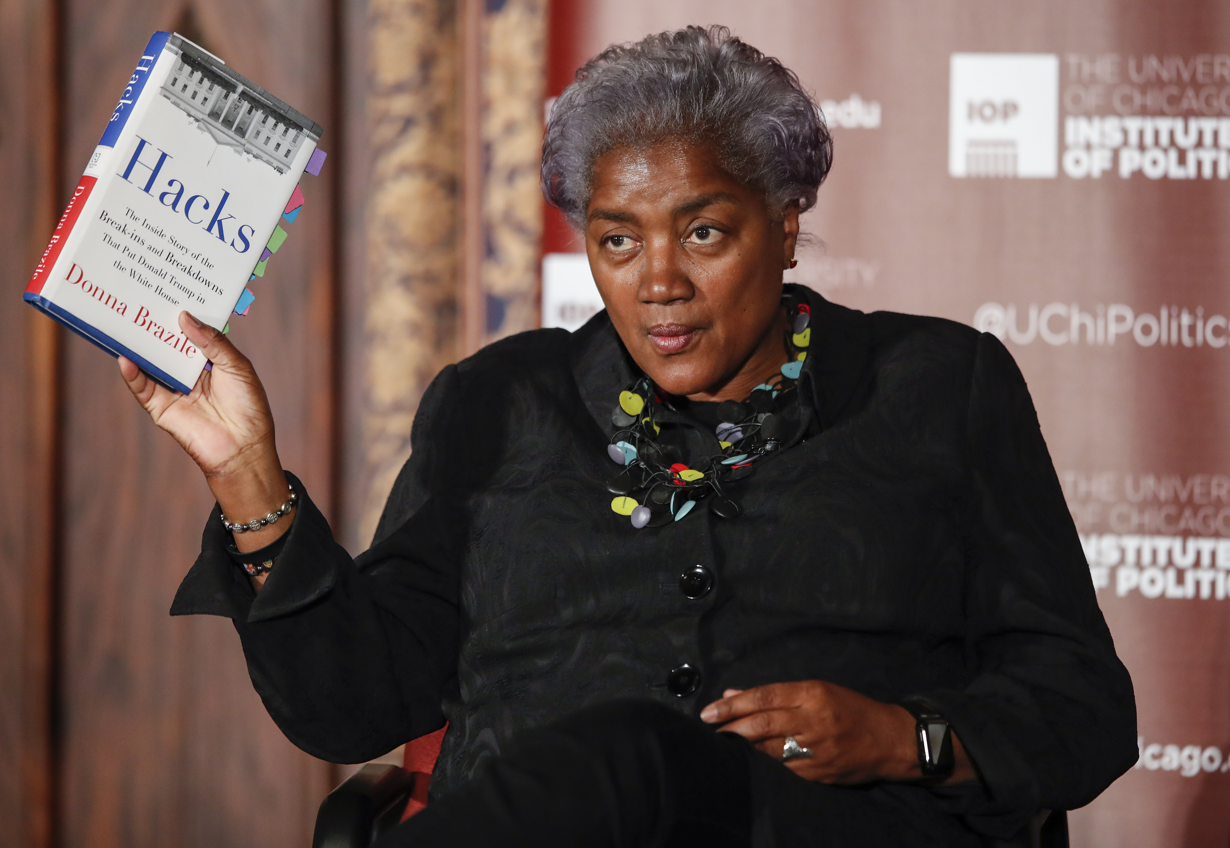 Former DNC Chair Donna Brazile speaks at The University of Chicago on November 13, 2017 in Chicago, Illinois. Brazile recently released her book 'Hacks: The Inside Story,' an account of her time as the interim chairperson of the Democratic National Committee during the 2016 presidential campaign. (Photo by Kamil Krzaczynski/Getty Images)