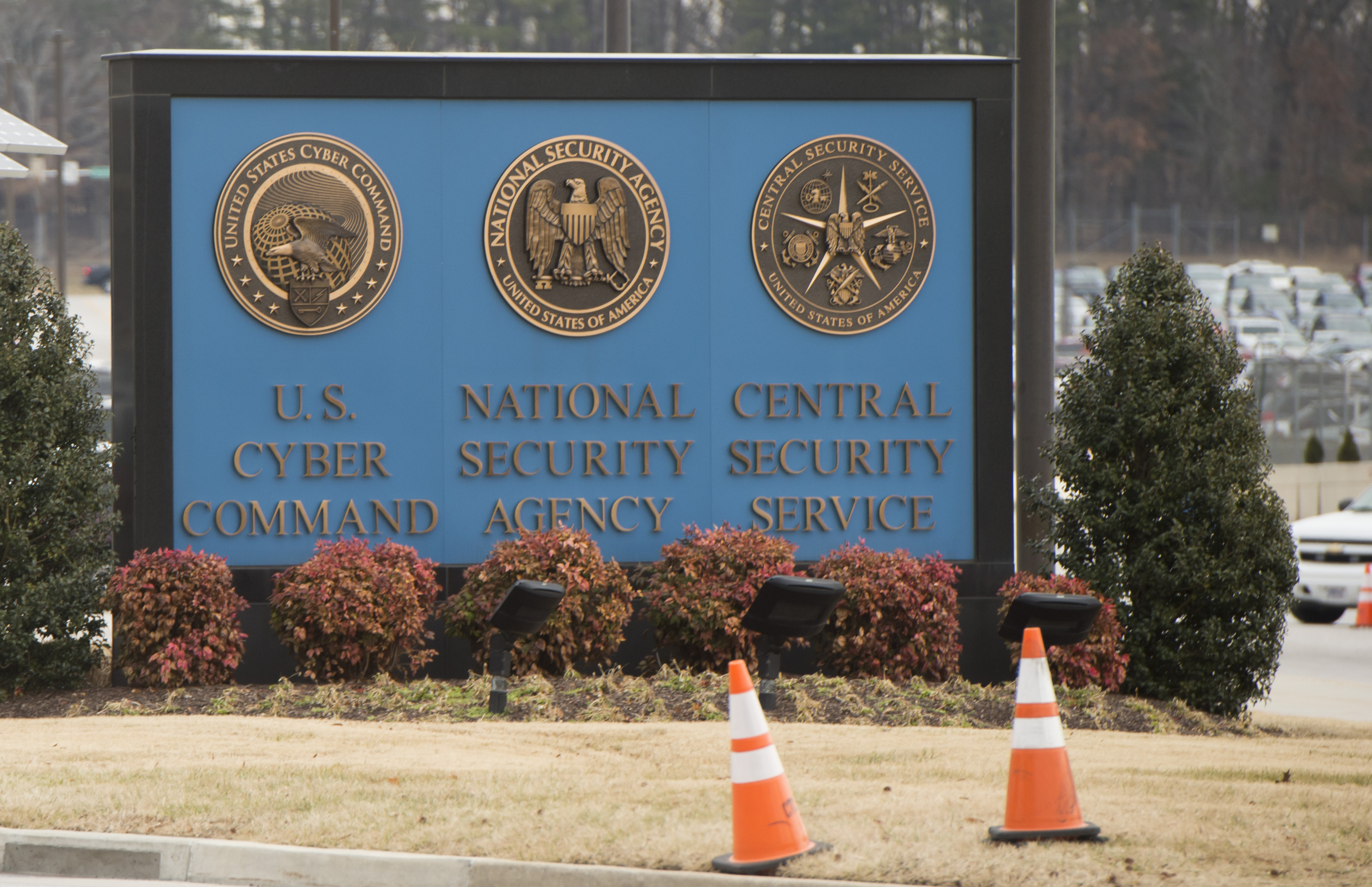A sign for the National Security Agency (NSA), US Cyber Command and Central Security Service, is seen near the visitor's entrance to the headquarters of the National Security Agency (NSA) after a shooting incident at the entrance in Fort Meade, Maryland, February 14, 2018. (SAUL LOEB/AFP/Getty Images)